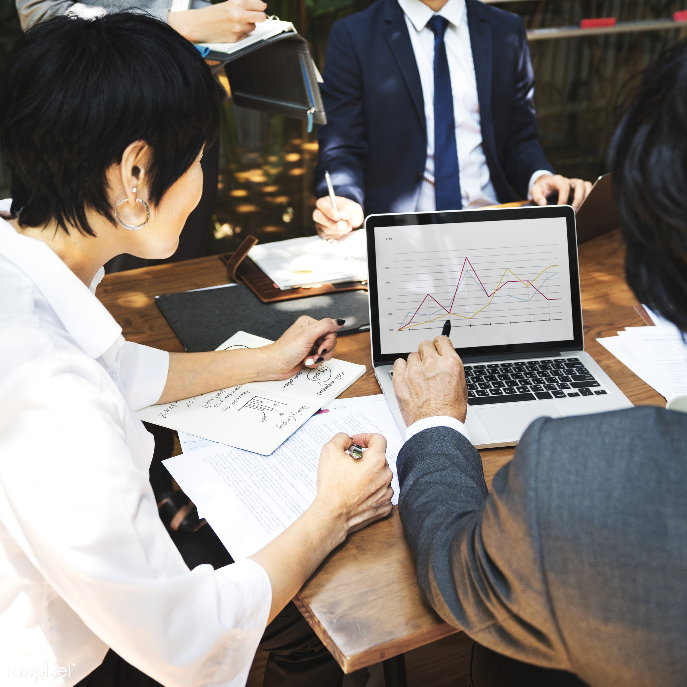 Business meeting in Asia - consultant, asian, asian ethnicity, bar graph, board room, brainstorming, business, business...