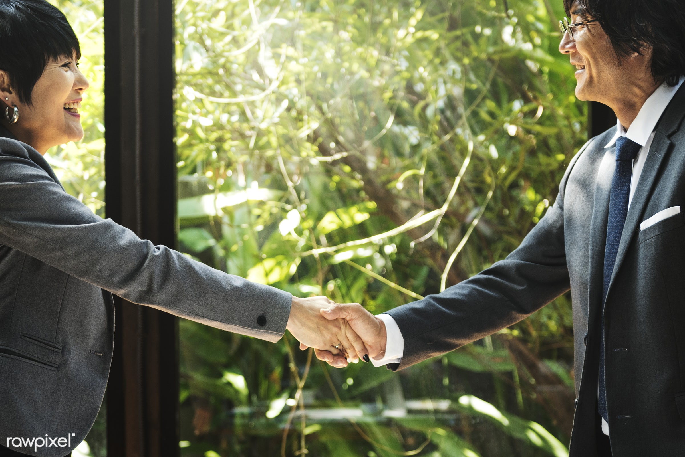 Business handshake in Asia - marketing, asian, asian ethnicity, board room, brainstorming, business, business people,...
