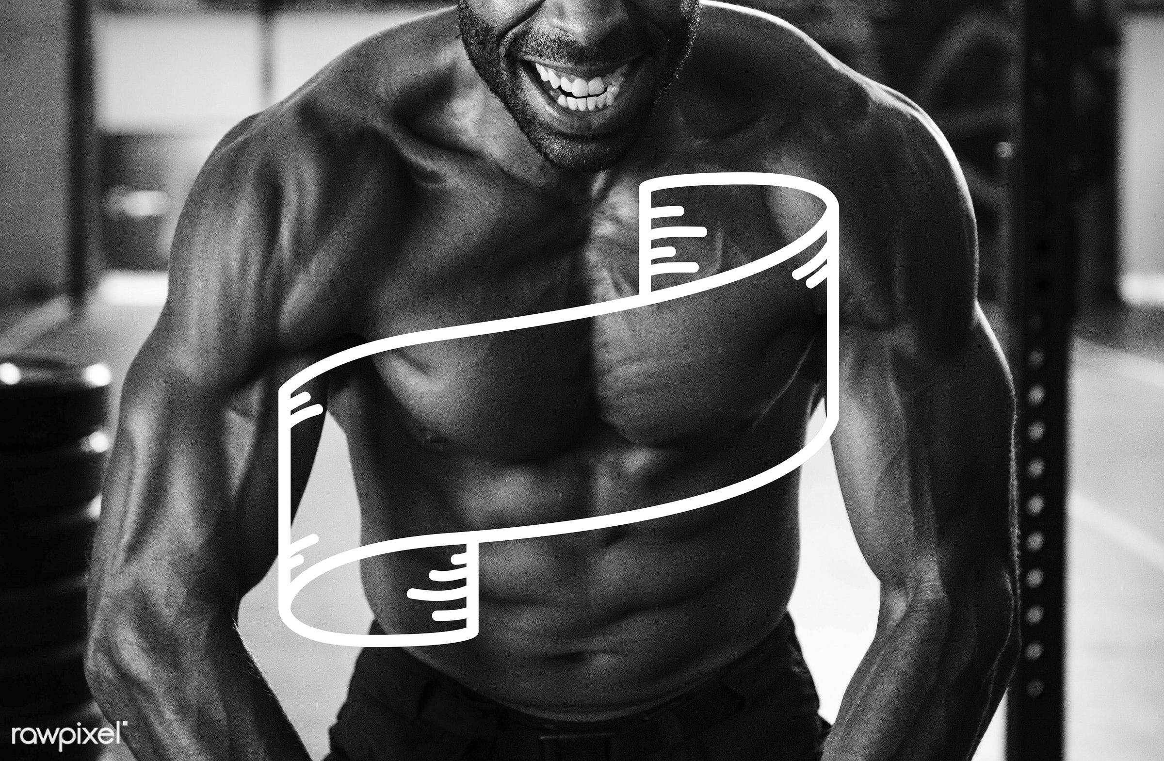 abs, adult, african descent, arms, badge, banner, biceps, blank, body, bodybuilder, copy space, exercise, fitness, label,...