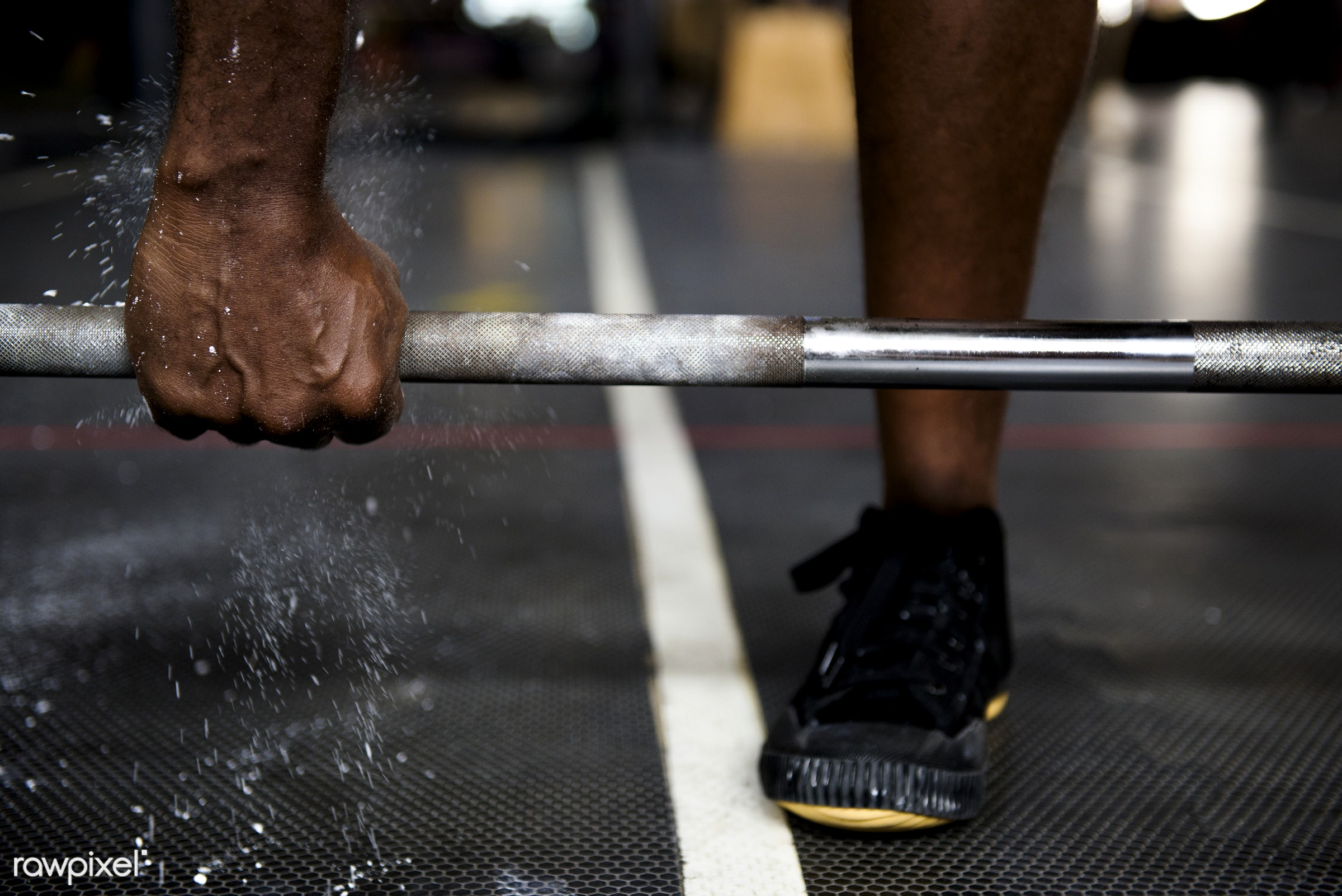 Muscle man at the gym - activity, african descent, athlete, athletic, barbell, courage, fit, fitness, floor, footwear, gym,...