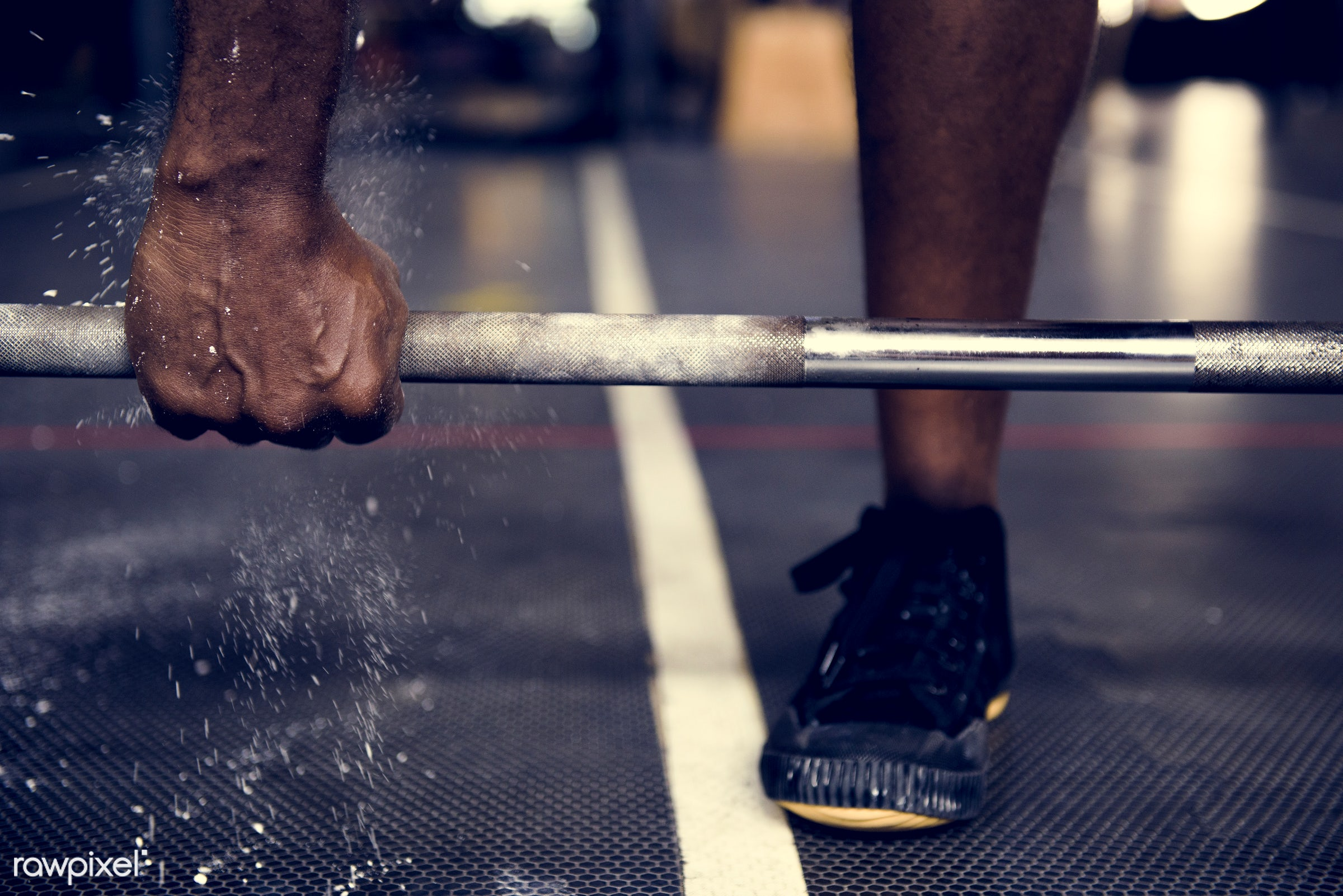 At the gym - activity, african descent, athlete, athletic, barbell, courage, fit, fitness, floor, footwear, gym, health,...