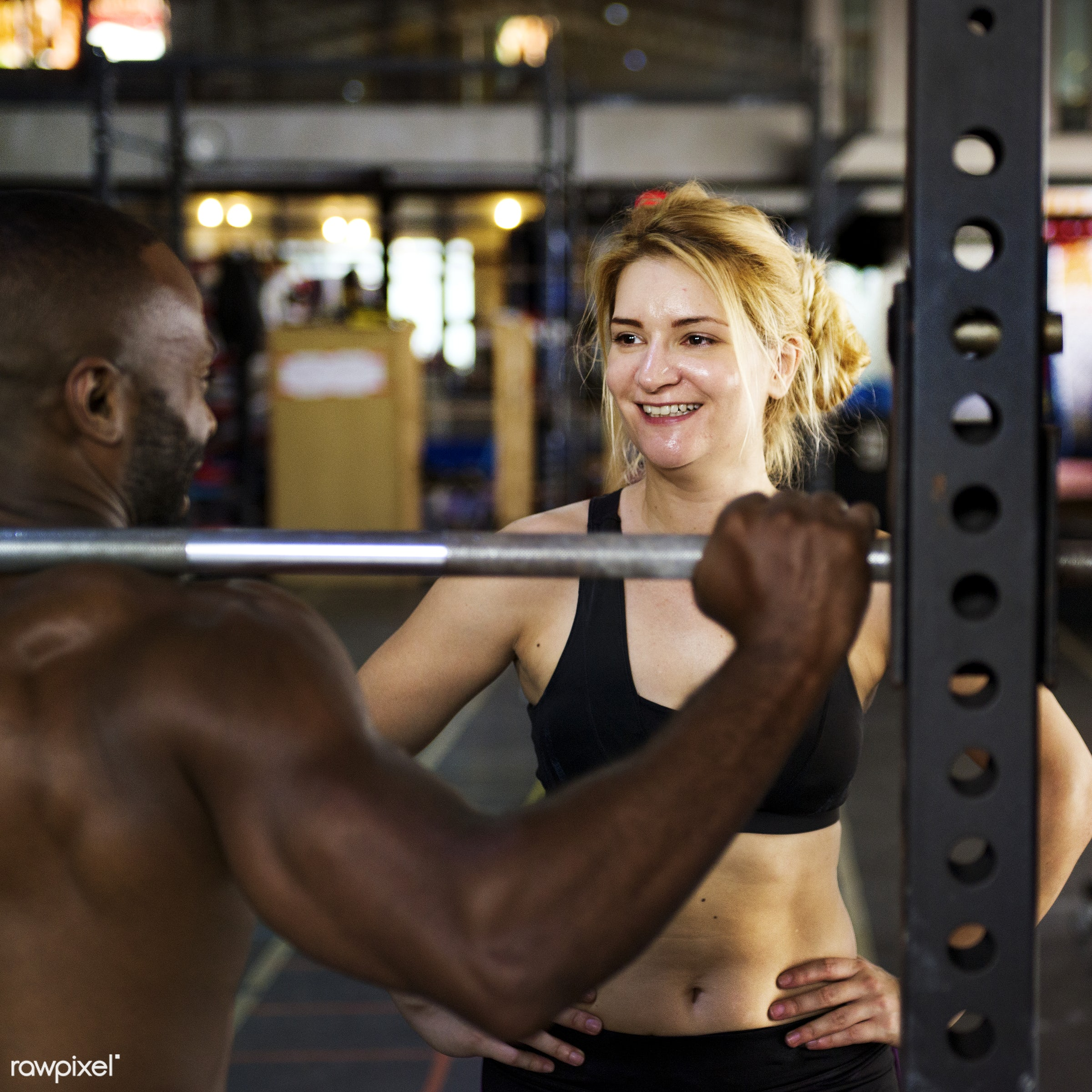 Personal trainer at the gym - active, activity, athlete, athletic, barbell, body, buff, caucasian, diverse, diversity,...