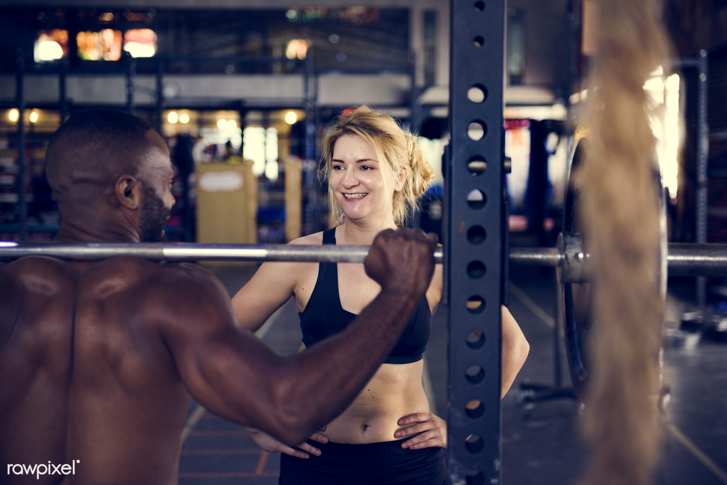 At the gym - active, activity, athlete, athletic, barbell, body, buff, caucasian, diverse, diversity, equipment, female, fit...