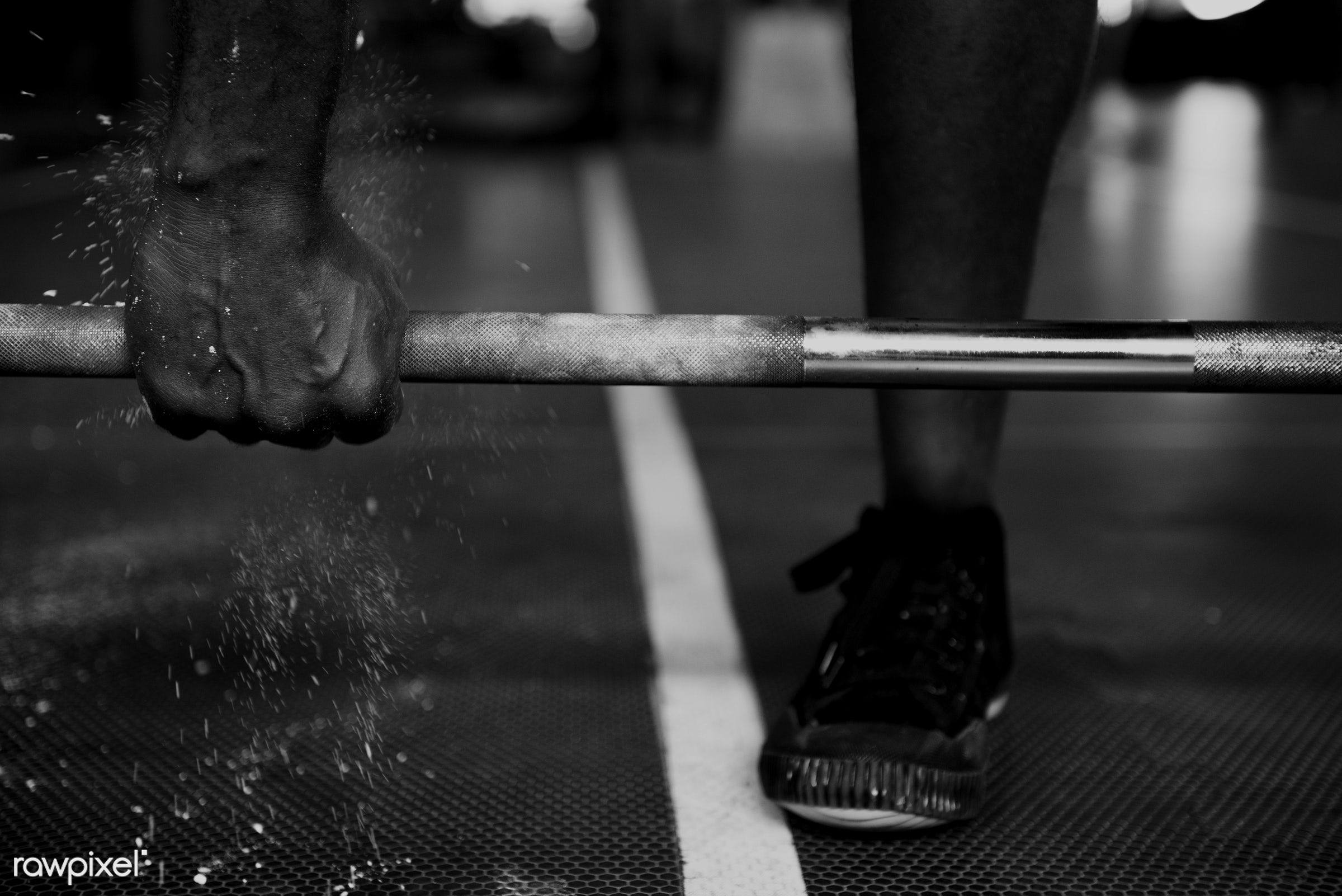 At the gym - activity, african descent, athlete, athletic, barbell, courage, fit, fitness, floor, footwear, grayscale, gym,...