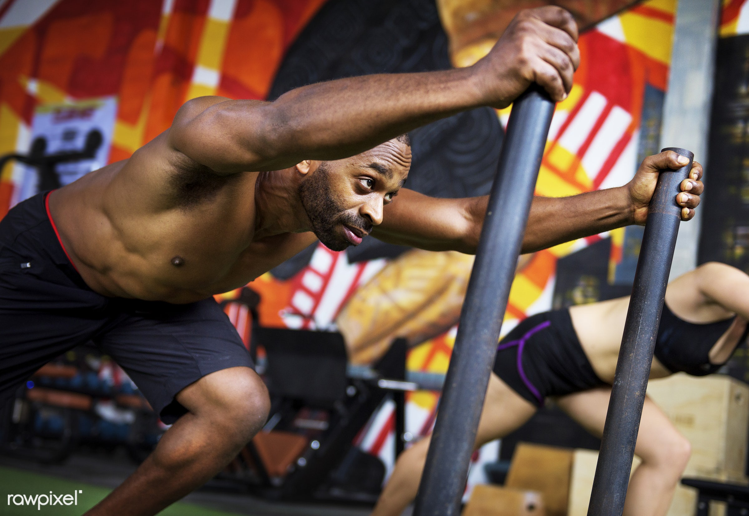 Crossfit group at the gym - active, activity, african descent, athlete, athletic, attractive, body, buff, concentration,...