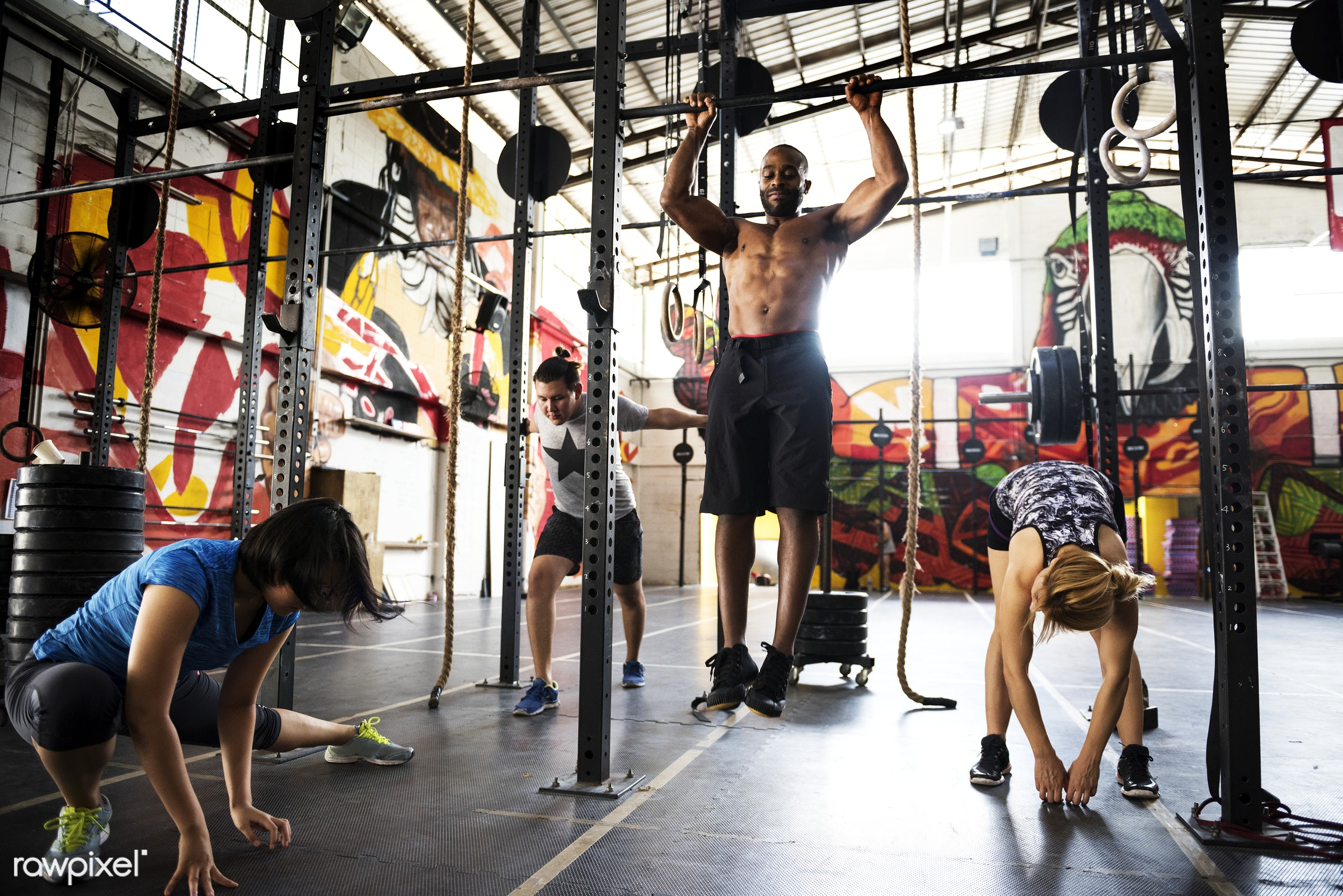 Crossfit group at the gym - active, activity, african descent, asian ethnicity, athlete, athletic, body, buff, caucasian,...