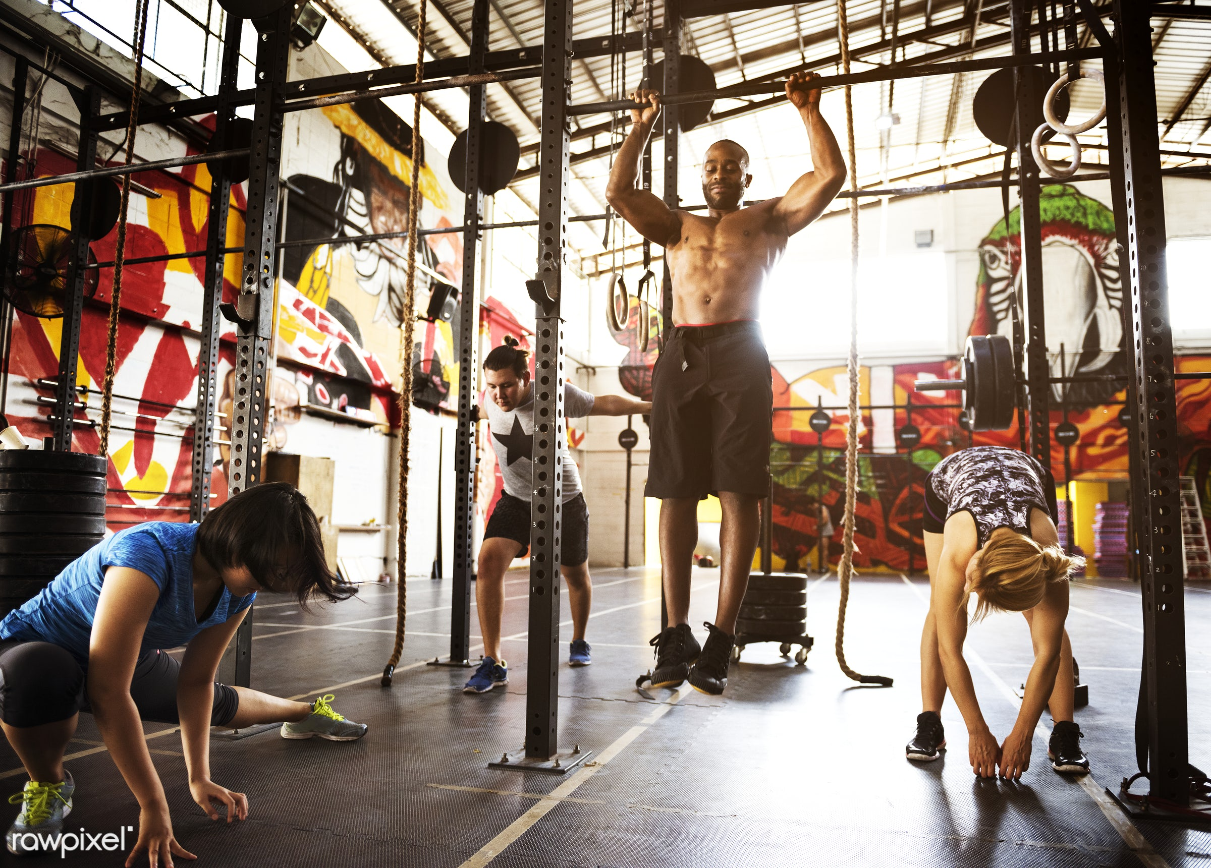 At the gym - active, activity, african descent, asian ethnicity, athlete, athletic, body, buff, caucasian, concentration,...