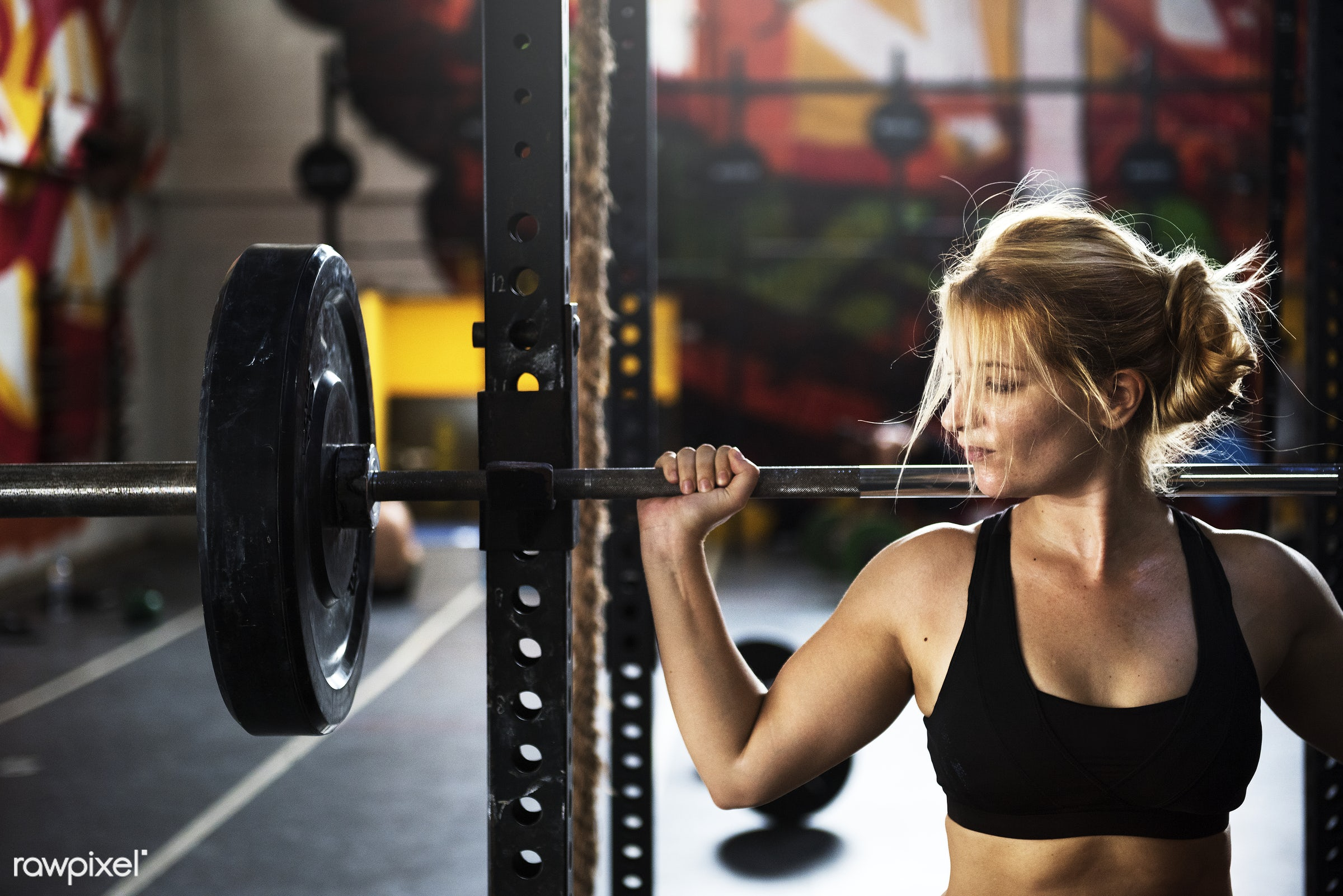 Strong woman at the gym - active, activity, athlete, athletic, barbell, body, buff, crossfit, equipment, female, fit,...