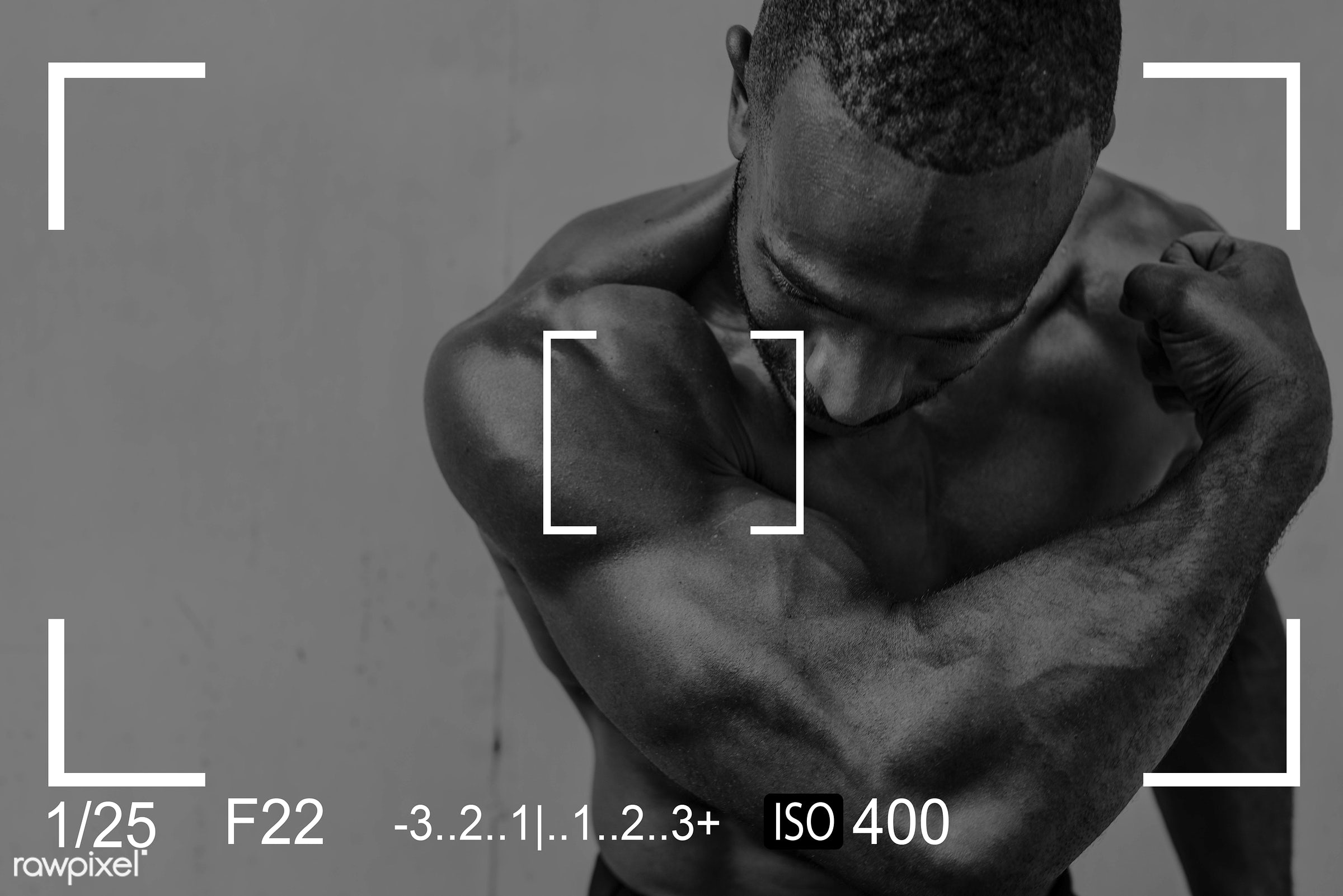 abs, adult, african descent, arms, be strong, bestro, biceps, blank, body, bodybuilder, camera, copy space, fitness, focus,...