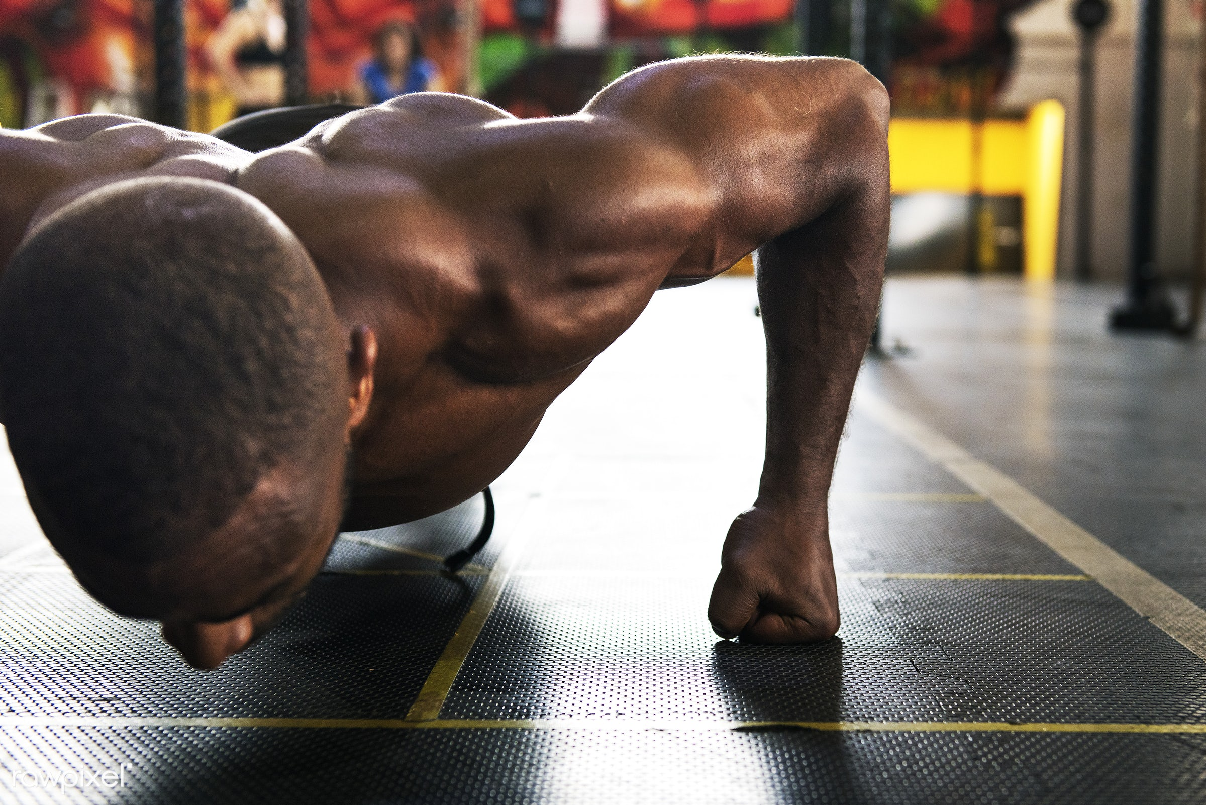 At the gym - active, activity, african descent, athlete, athletic, attractive, body, buff, concentration, exercise, fit,...