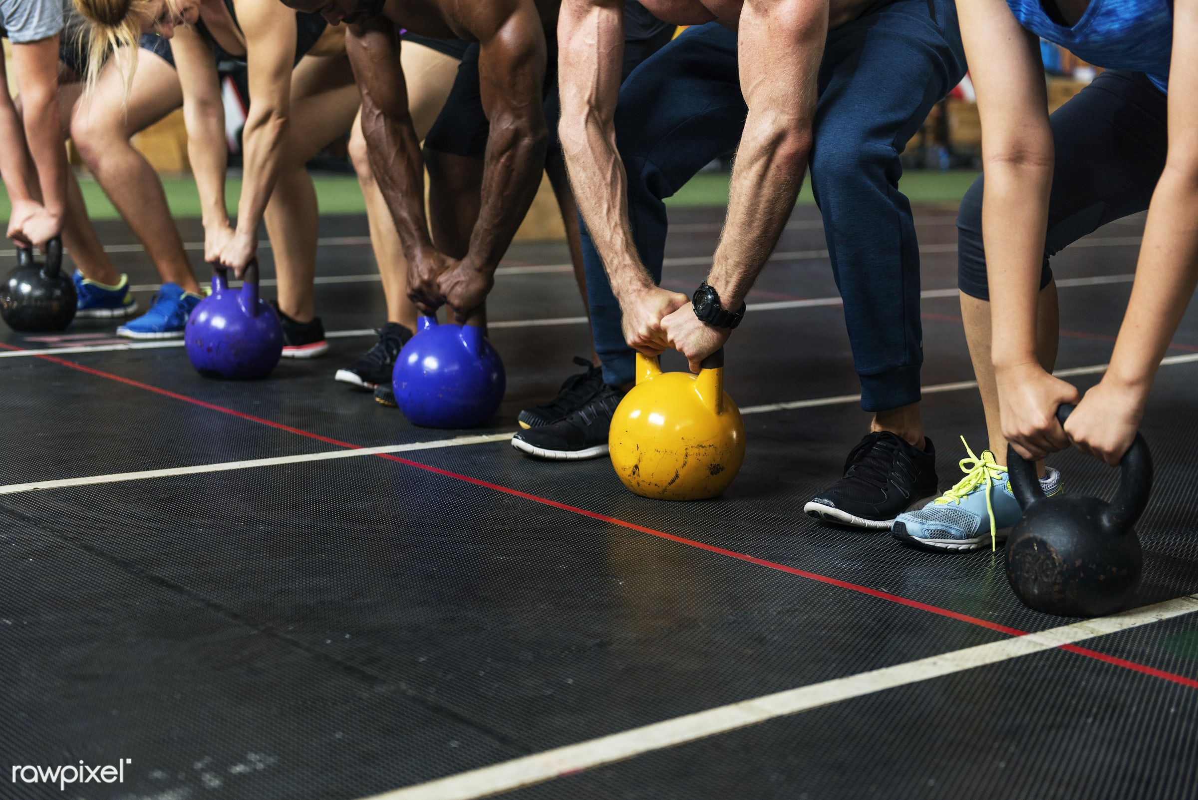 Crossfit group at the gym - active, activity, african descent, athlete, athletic, body, buff, caucasian, concentration,...