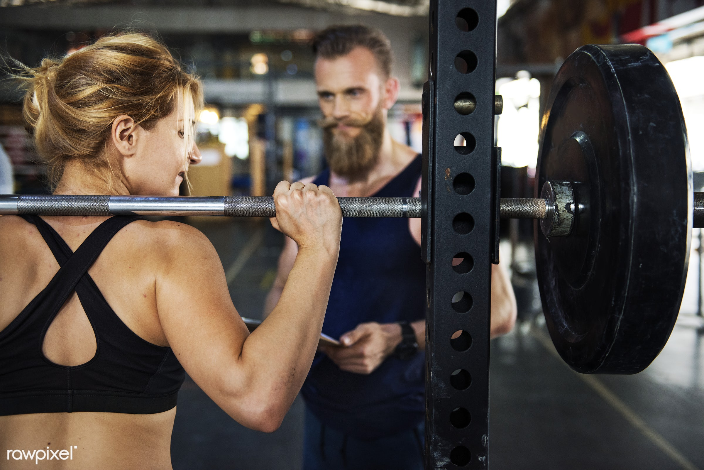 Personal trainer at the gym - active, activity, athlete, athletic, barbell, body, buff, crossfit, equipment, female, fit,...