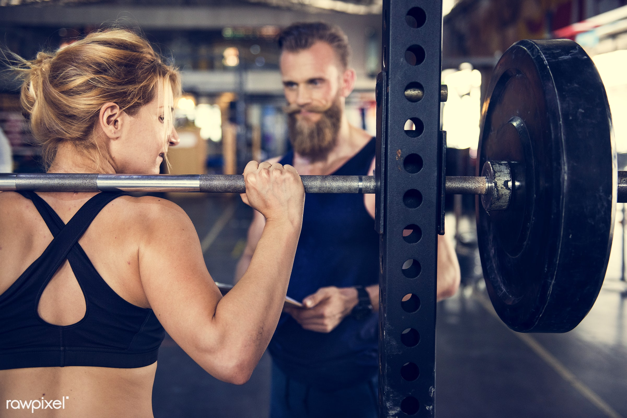At the gym - active, activity, athlete, athletic, barbell, body, buff, caucasian, equipment, female, fit, fitness, gym,...