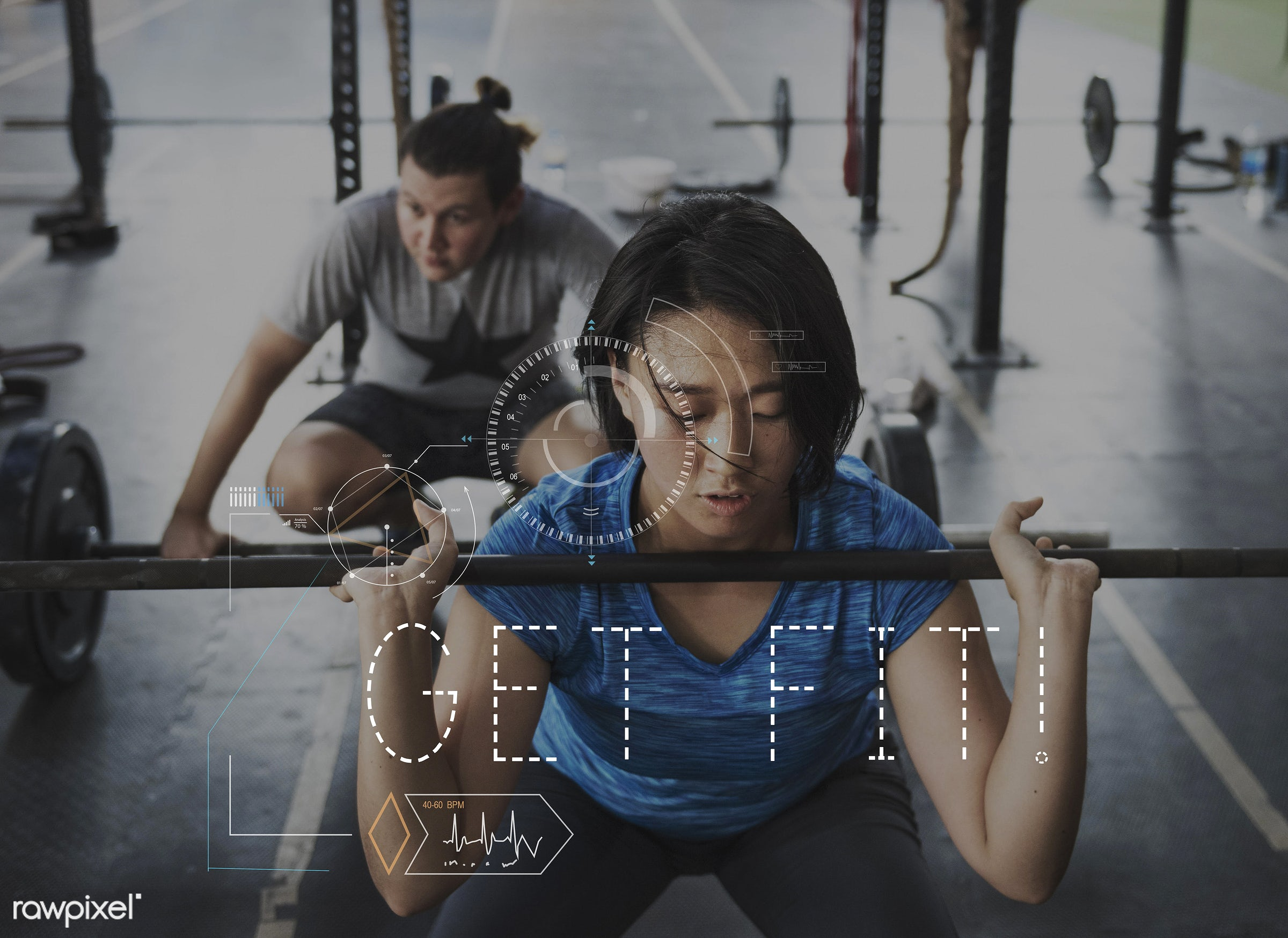 Get fit - healthcare, asian, blonde, body, condition, crosshair, daily, energy, exercise, fit, fitness, grab, graphic, gym,...