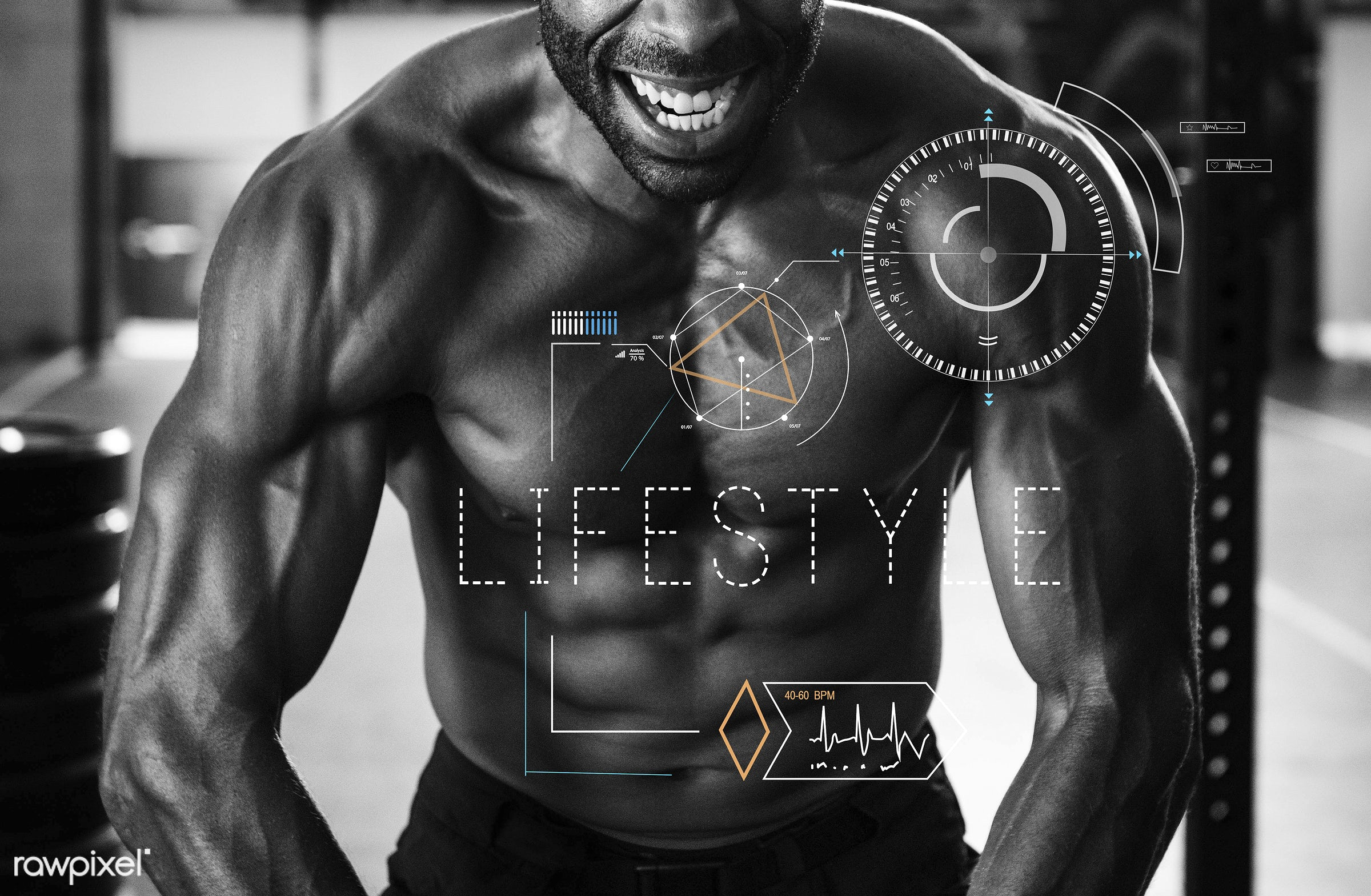 health, gym, word, abs, adult, african descent, arms, biceps, body, bodybuilder, condition, crosshair, daily, energy,...