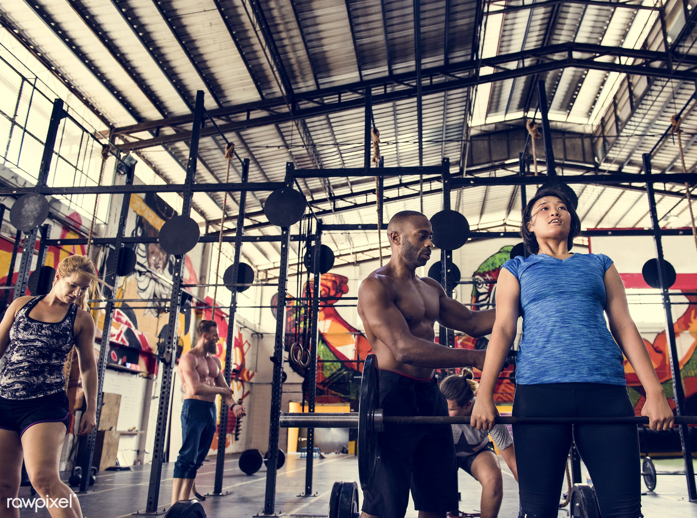 At the gym - active, activity, african descent, asian ethnicity, athlete, athletic, barbell, body, buff, caucasian,...