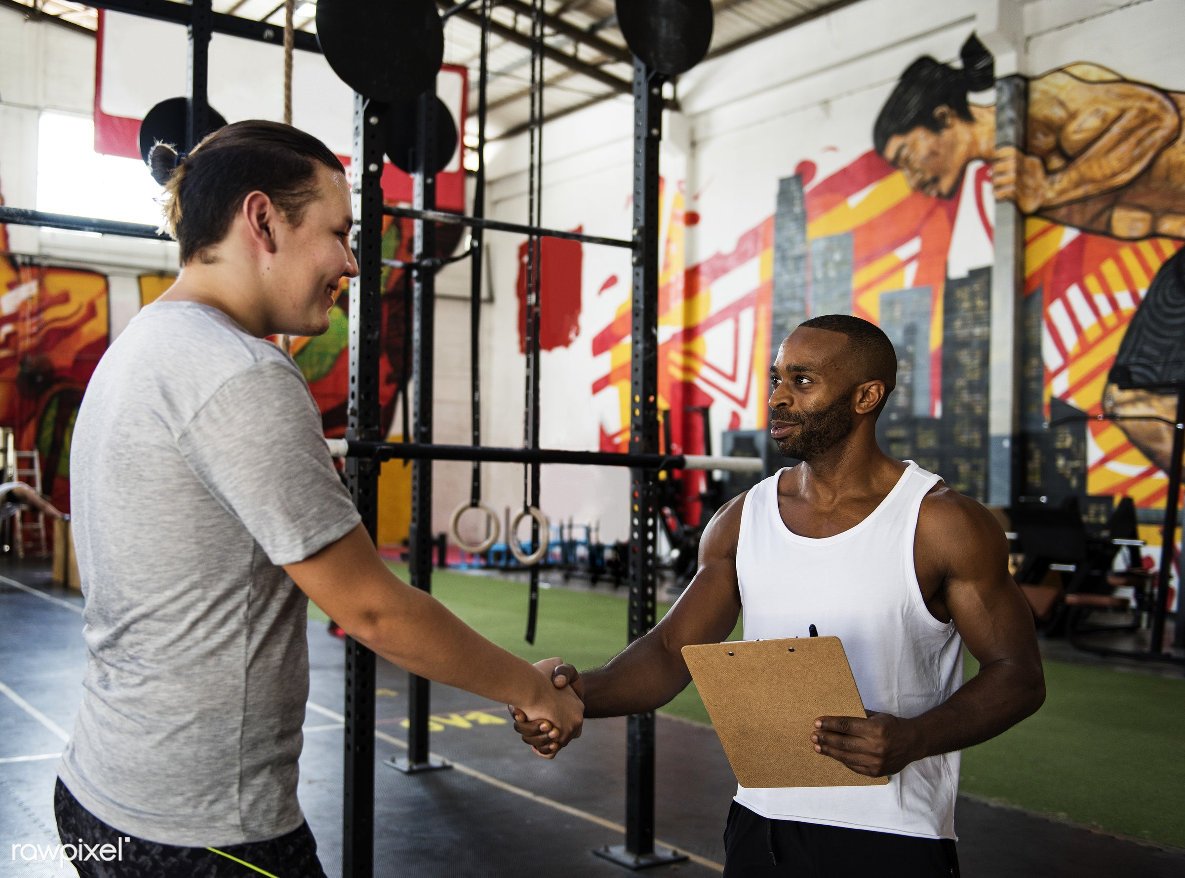 At the gym - active, activity, african descent, asian ethnicity, athlete, athletic, body, buff, deal, diverse, diversity,...