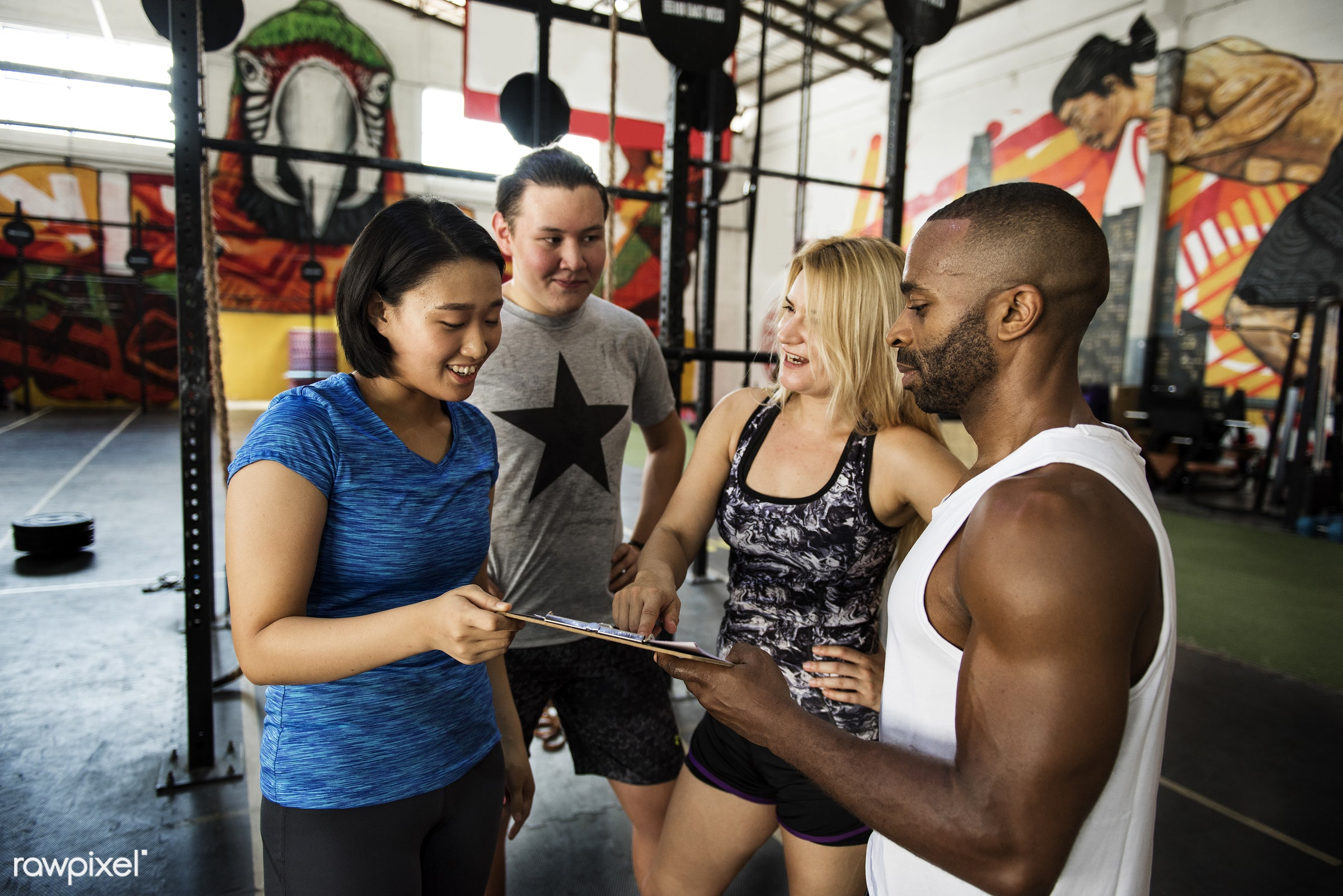 At the gym - active, activity, african descent, asian ethnicity, athlete, athletic, body, buff, caucasian, diverse,...