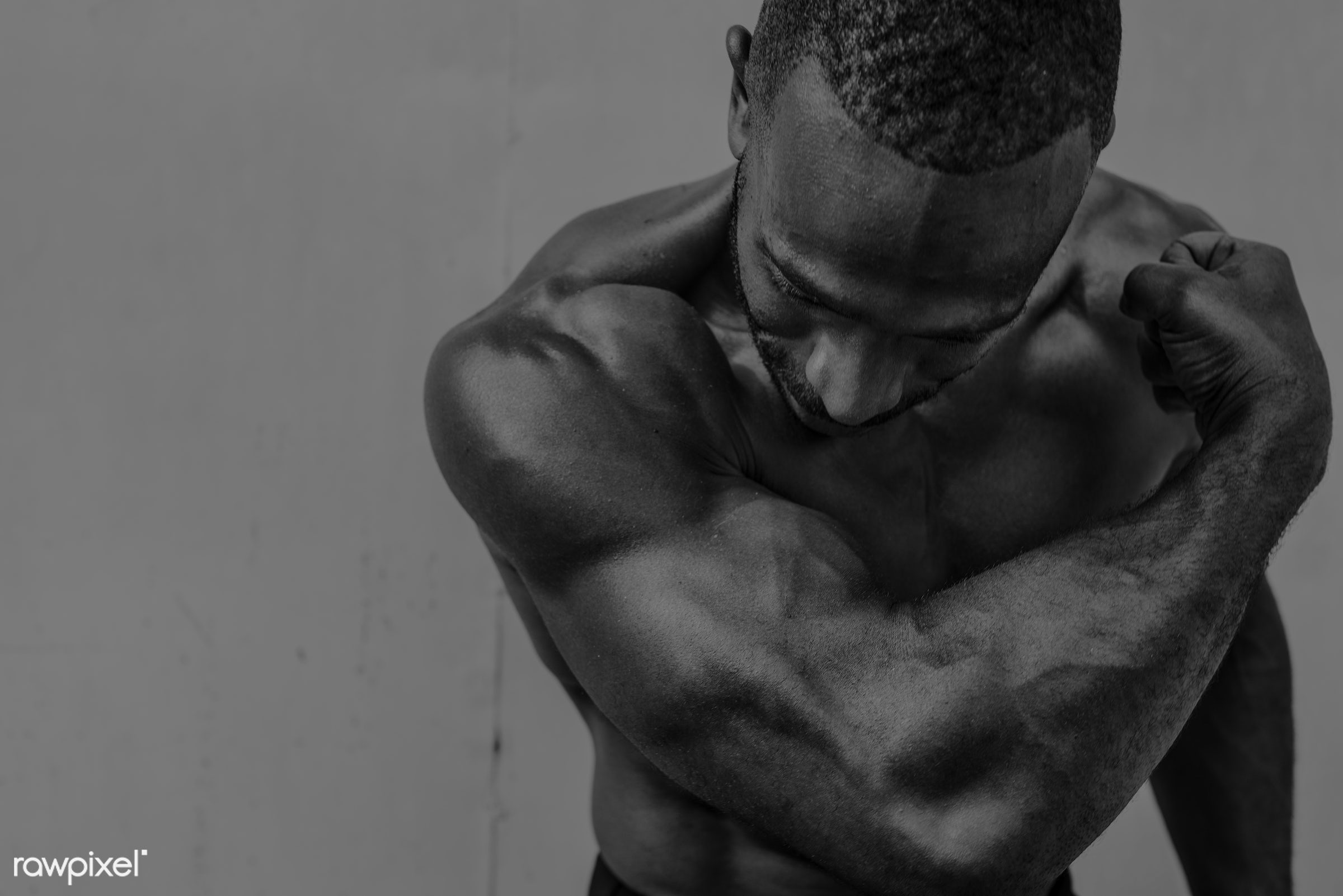 Muscle man at the gym - achievement, active, activity, african descent, athlete, athletic, attractive, body, buff, fit,...