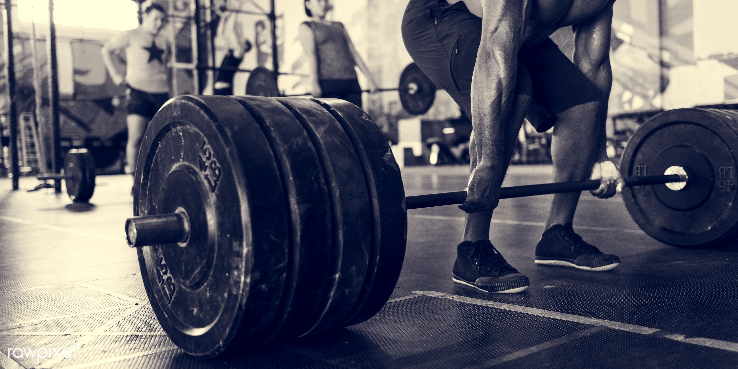 At the gym - active, activity, african descent, asian ethnicity, athlete, athletic, barbell, body, buff, concentration,...