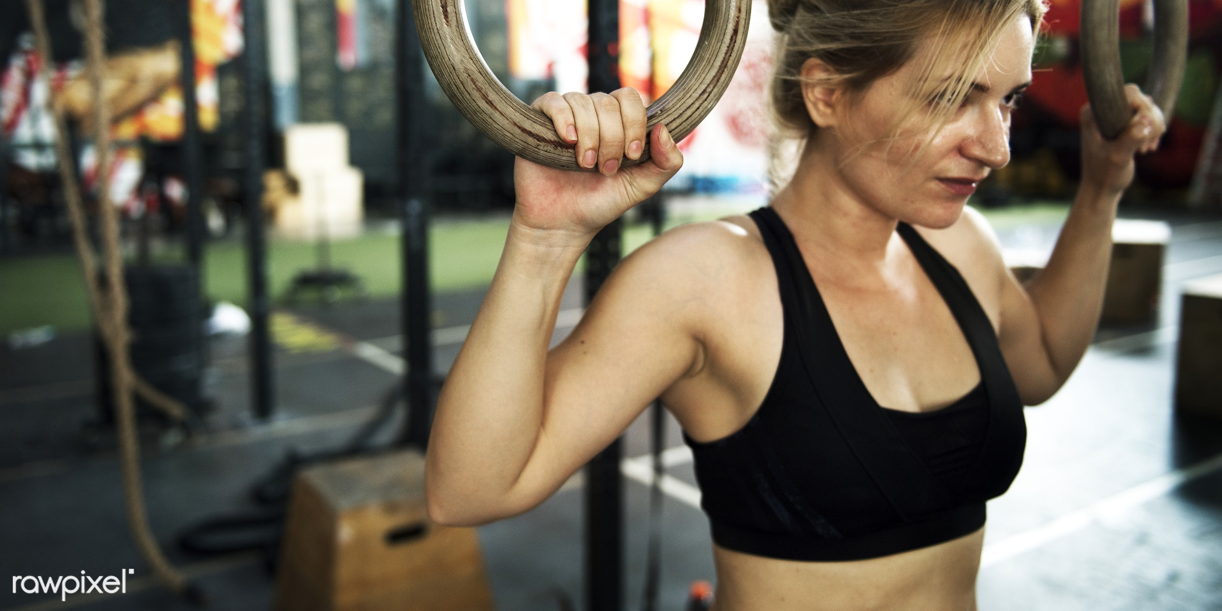Strong woman at the gym - active, activity, athlete, athletic, attractive, body, concentration, courage, crossfit, equipment...
