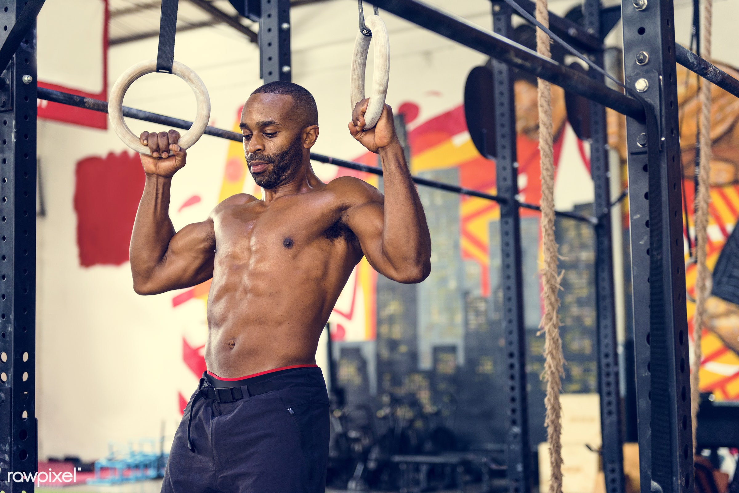 At the gym - active, activity, african descent, athlete, athletic, attractive, body, buff, concentration, equipment,...