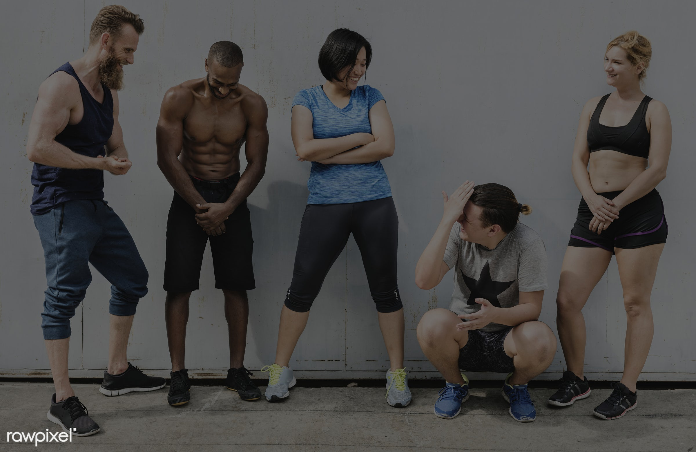 At the gym - active, activity, african descent, asian ethnicity, athlete, athletic, body, buff, caucasian, cheerful, diverse...
