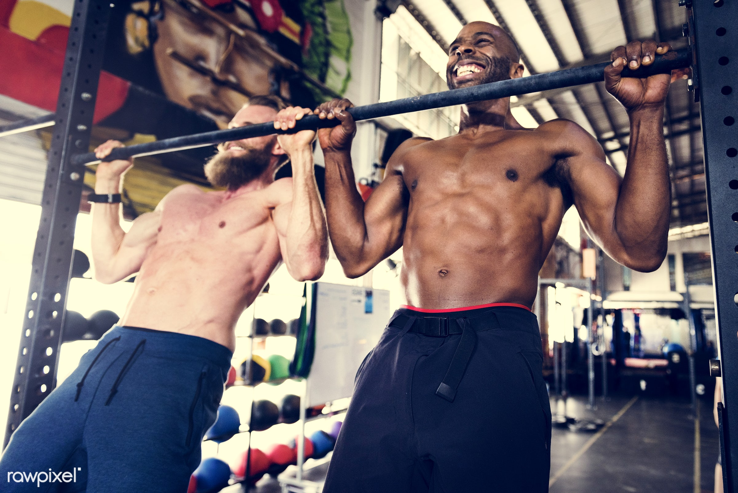 At the gym - active, activity, african descent, athlete, athletic, attractive, body, buff, caucasian, cheerful, diverse,...