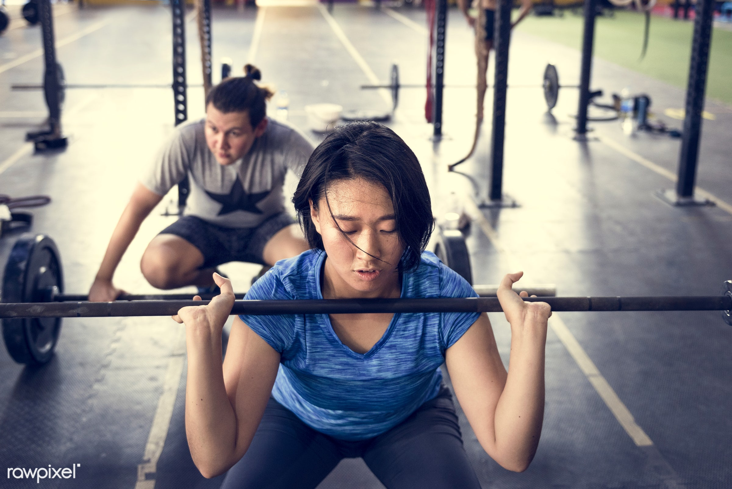 At the gym - active, activity, asian ethnicity, athlete, athletic, barbell, body, concentration, diverse, diversity,...