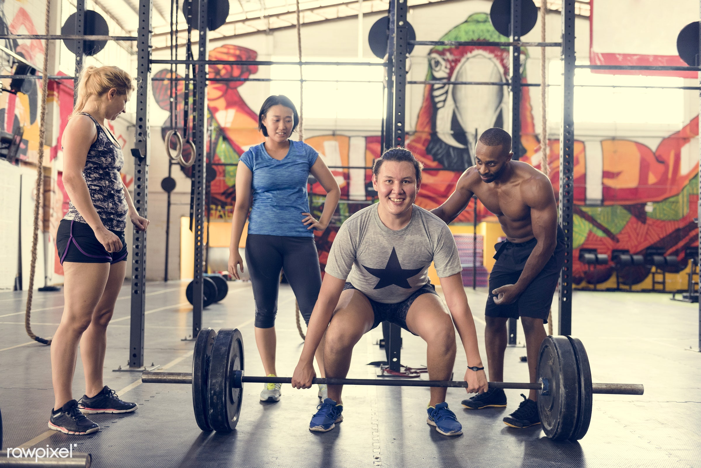 At the gym - active, activity, african descent, asian ethnicity, athlete, athletic, barbell, body, buff, caucasian, diverse...