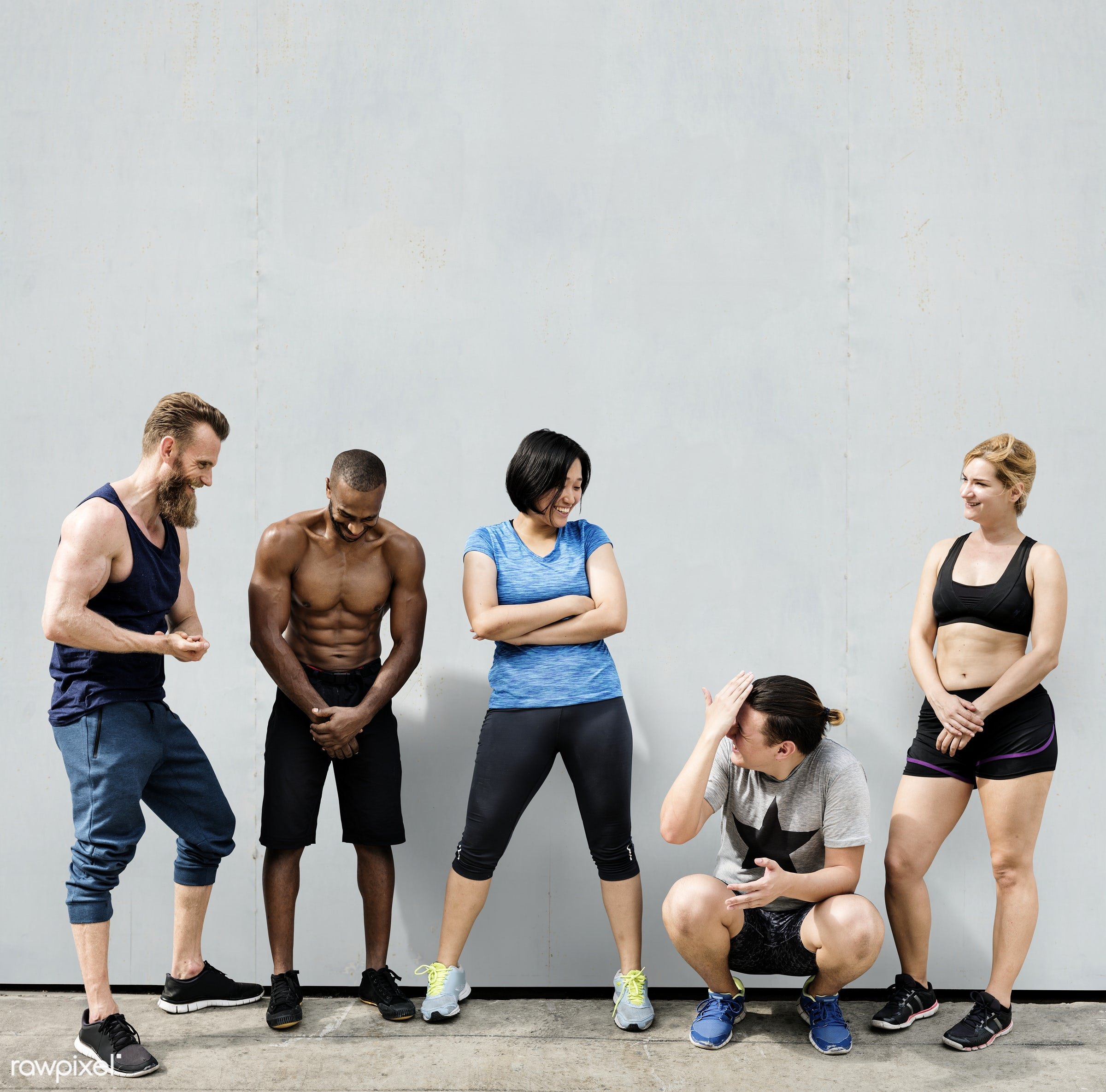 Squad of active people in workout clothing - fit, athlete, hipster, active, activity, african descent, asian ethnicity,...