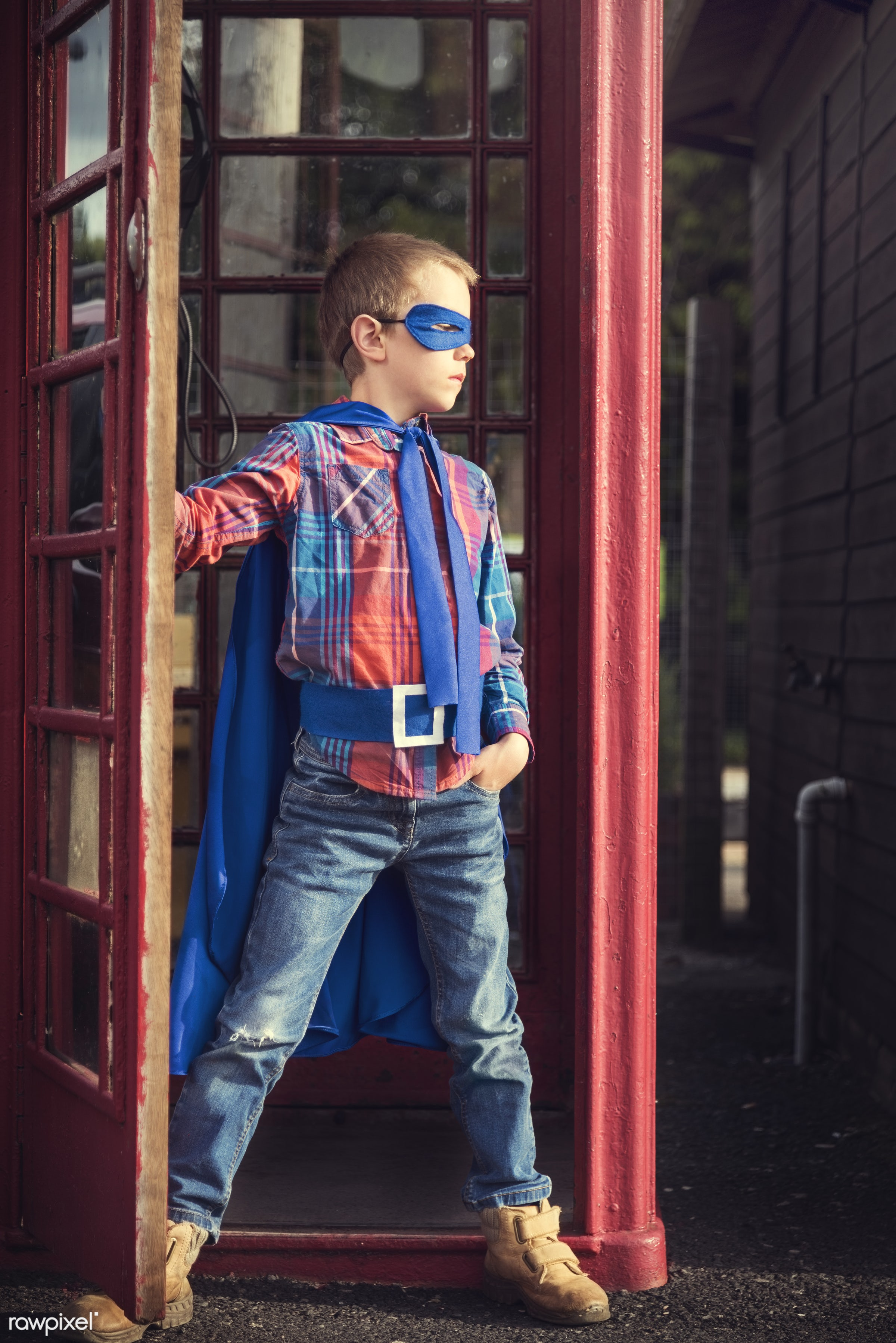 Caucasian children superhero and play shoot  - active, activity, adorable, aspirations, boy, brave, cheerful, child,...