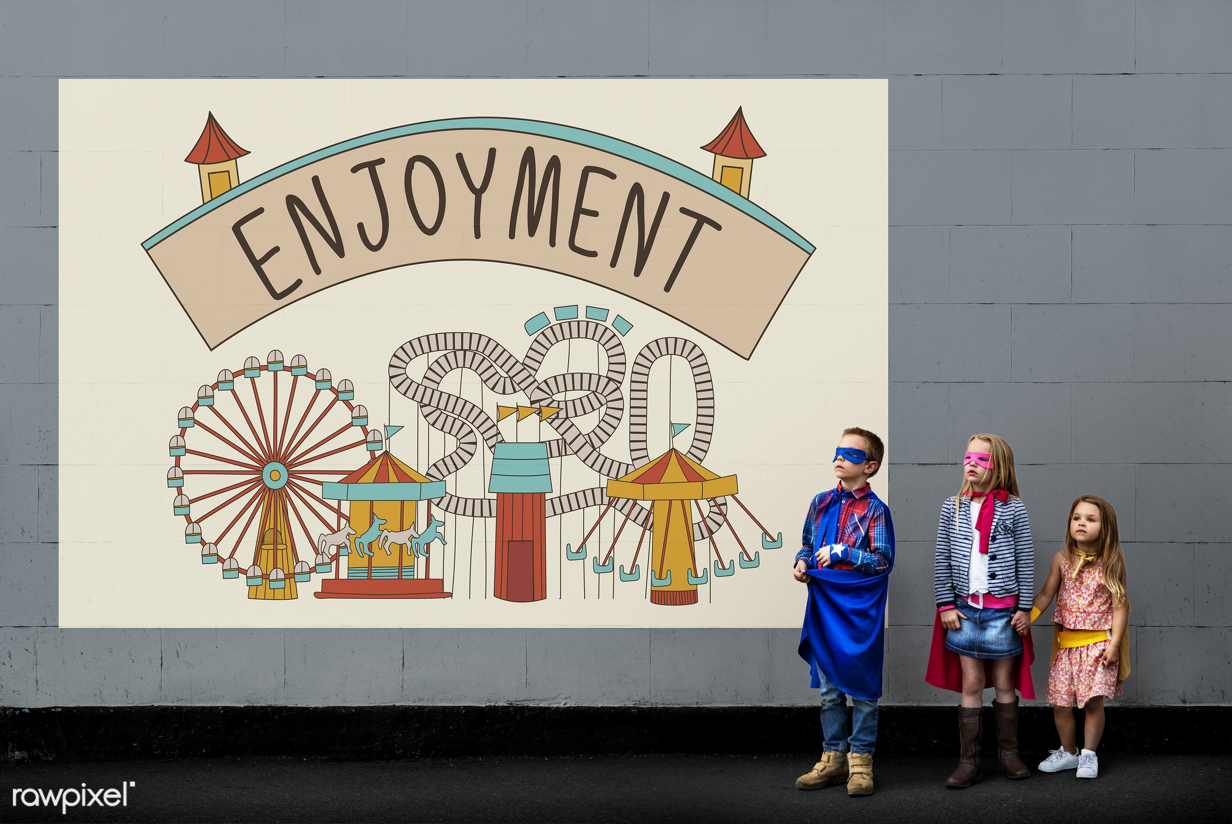 activity, amusement, aspiration, attraction, boys, brick wall, building, child, childhood, children, costumes, creative,...