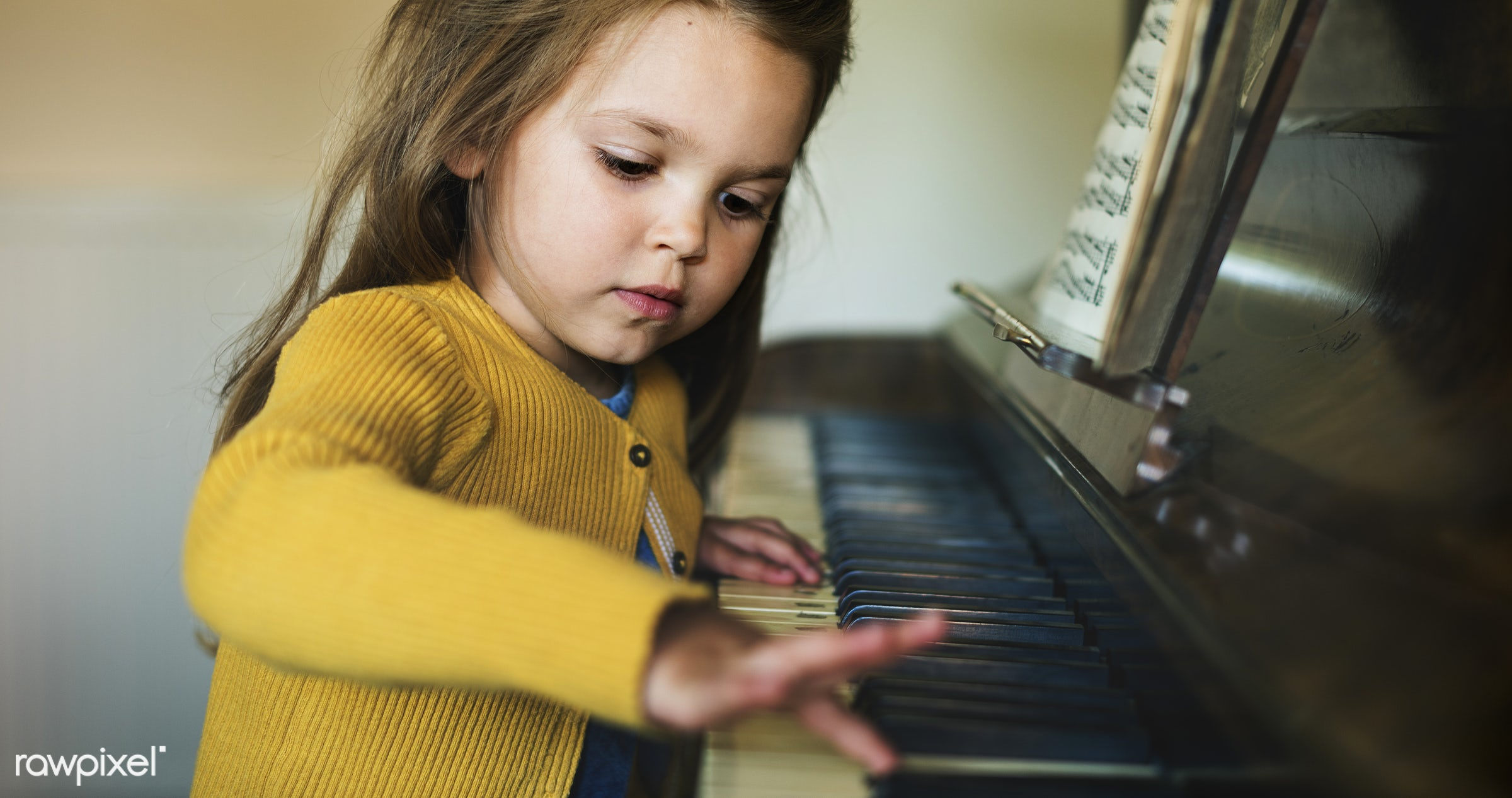 Cute and adorable little girl learning how to play a piano - art, beautiful, cape, caucasian, child, childhood, children,...