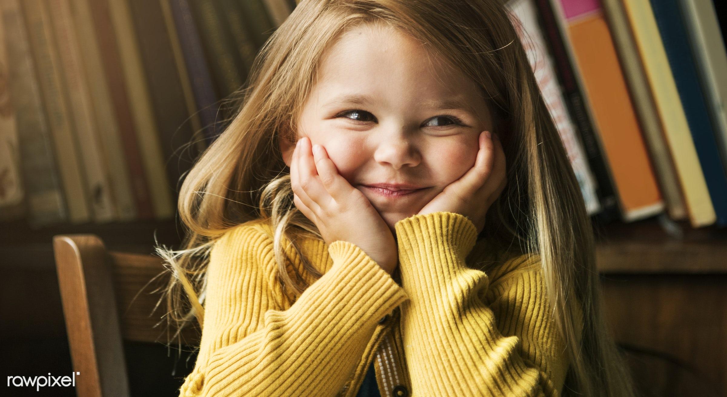 beautiful, bookshelf, calm, caucasian, charming, cheerful, chilling, cute, elementary age, enjoyment, female, femininity,...