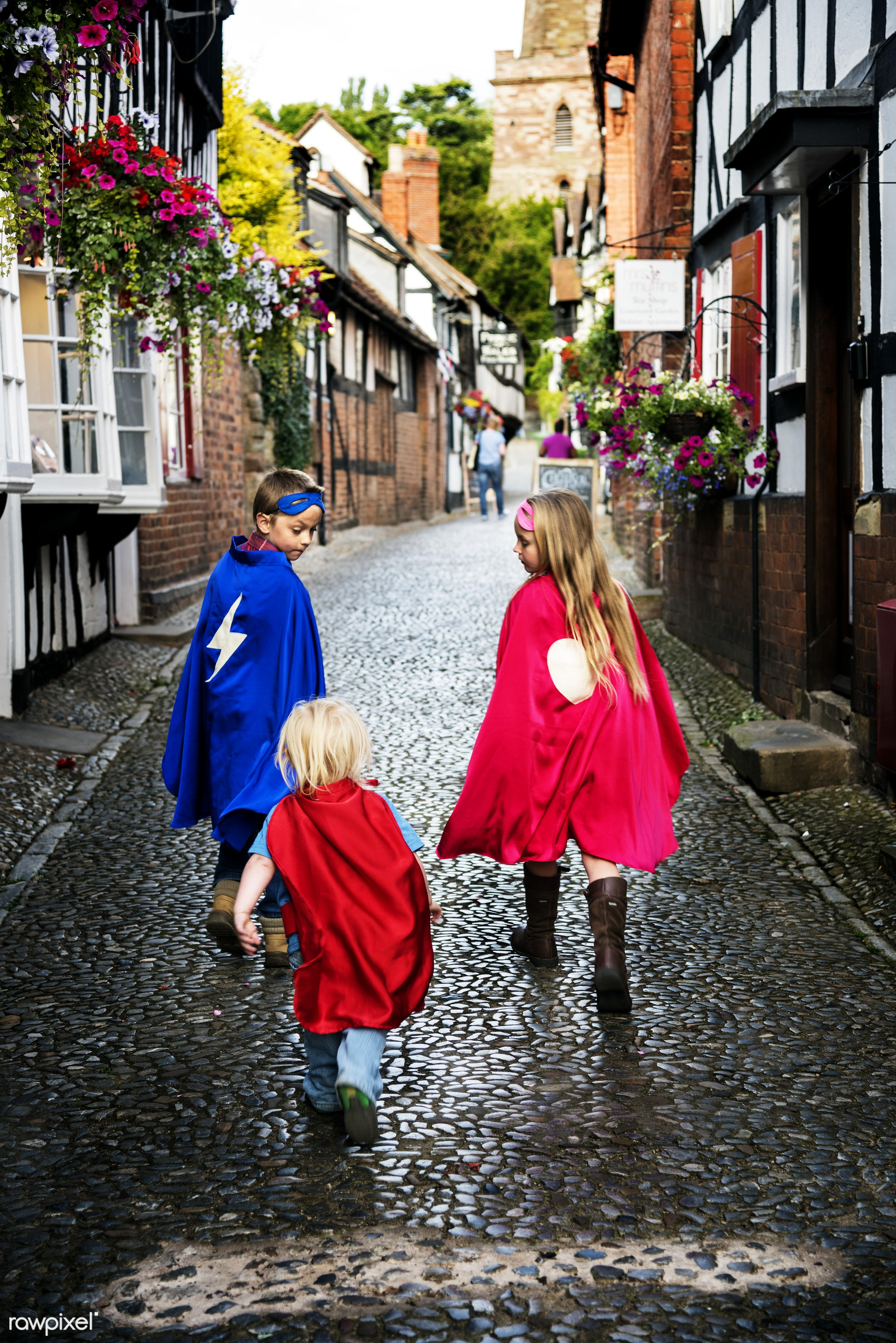 Caucasian children superhero and play shoot  - activity, aspirations, brave, brother, cheerful, child, childhood, colourful...