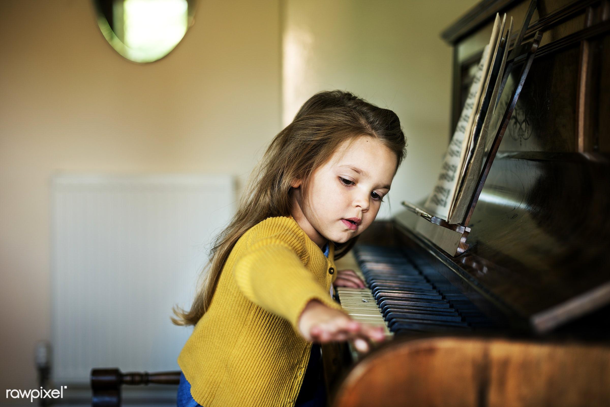 Caucasian children superhero and play shoot - child, class, piano, musician, music, art, beautiful, cape, childhood,...