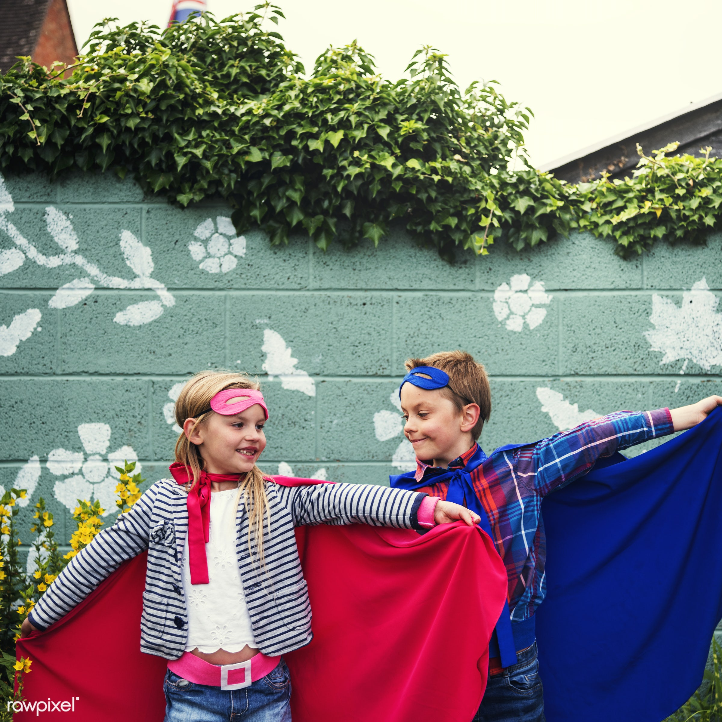 Friends playing superheroes - activity, aspirations, boy, brave, brother, cape, caucasian, cheerful, child, childhood,...