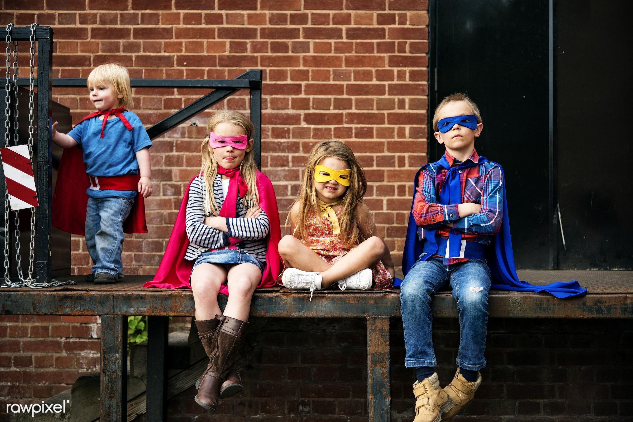 Caucasian children superhero and play shoot  - activity, aspirations, boy, brave, brick wall, brother, building, caucasian,...