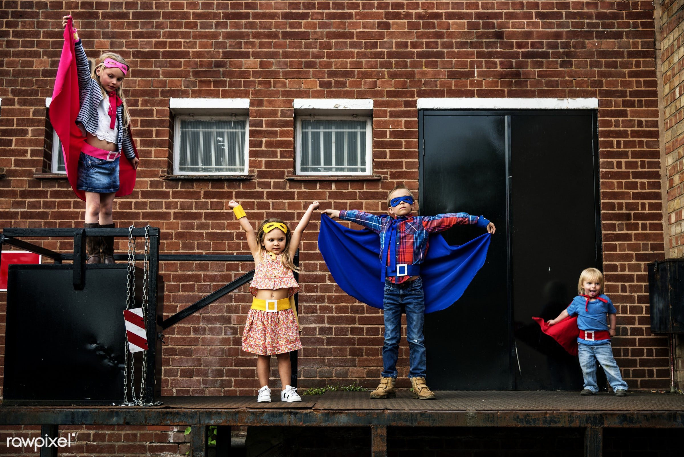 Caucasian children superhero and play shoot - learning, activity, aspirations, boy, brave, brick wall, brother, building,...