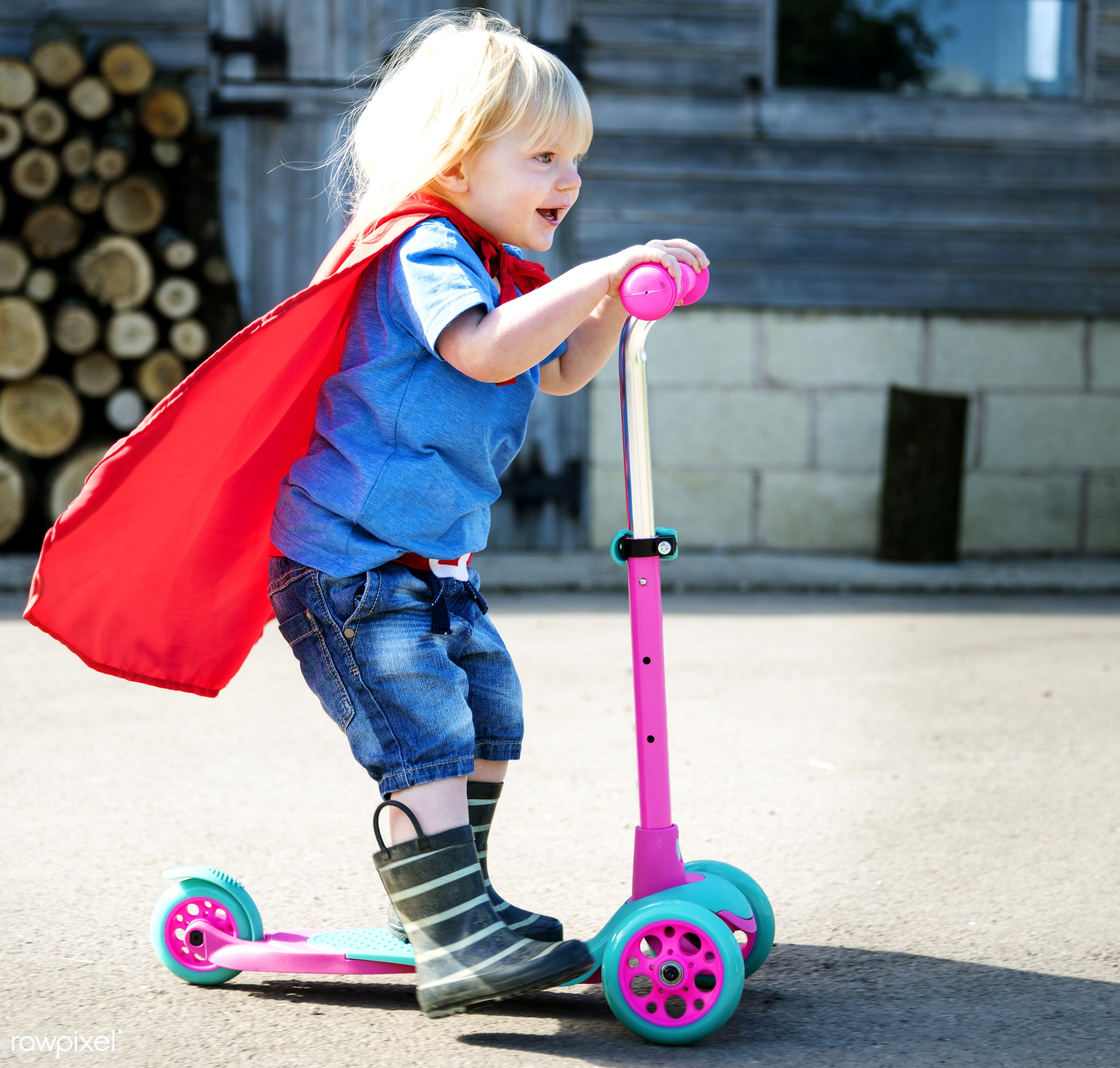 Happy little boy playing superhero with imagination - active, activity, adorable, aspirations, boy, brave, cheerful, child,...