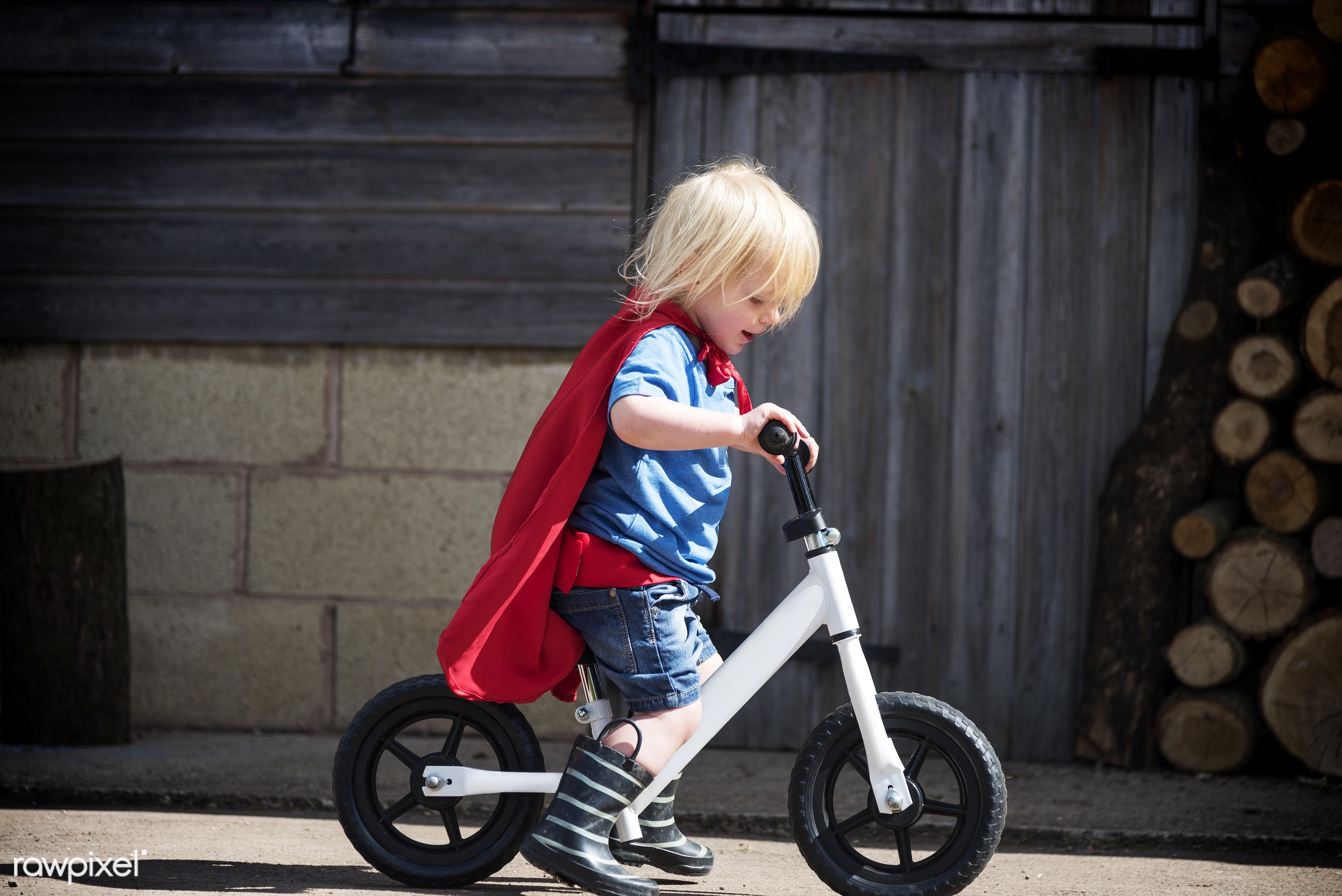 Caucasian children superhero and play shoot  - active, activity, adorable, aspirations, bicycle, bike, biking, boy, brave,...