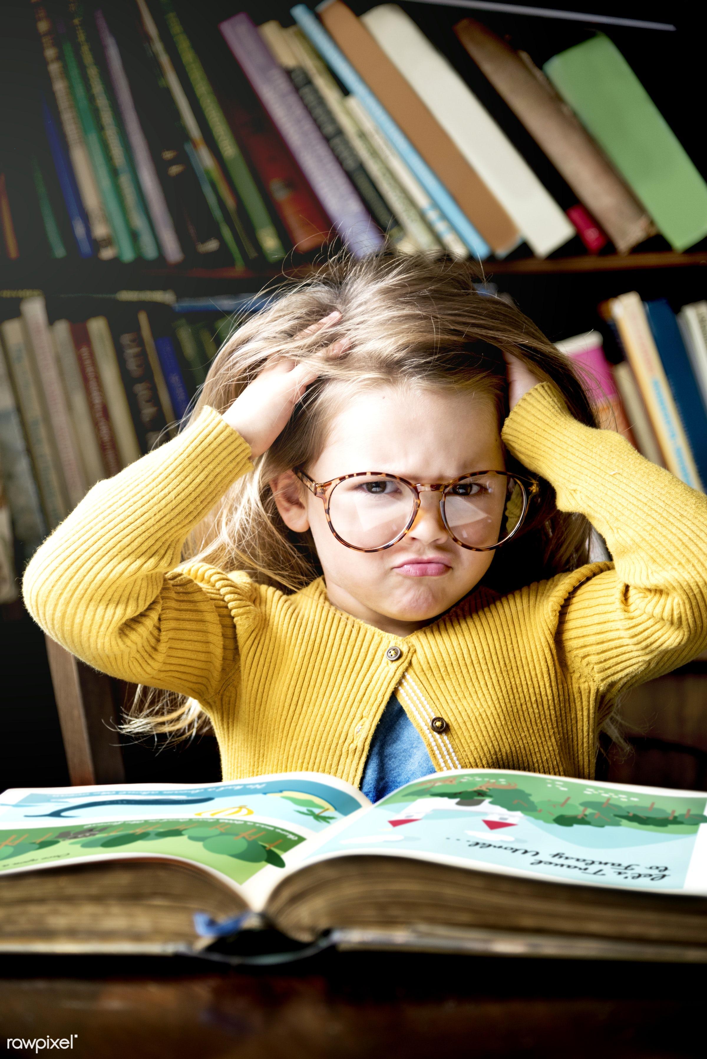 Little girl reading a story - book, child, education, smart, art, beautiful, bookstore, cape, childhood, children, class,...