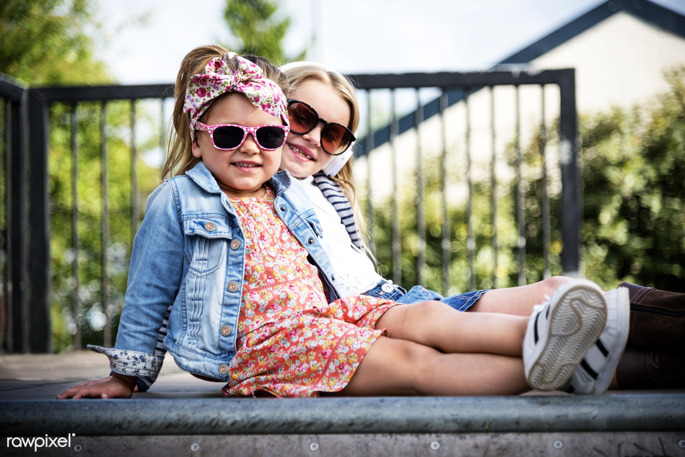 Adorable little girl fashionistas street style - adorable, buddy, casual, caucasian, cheerful, chic, child, childhood,...