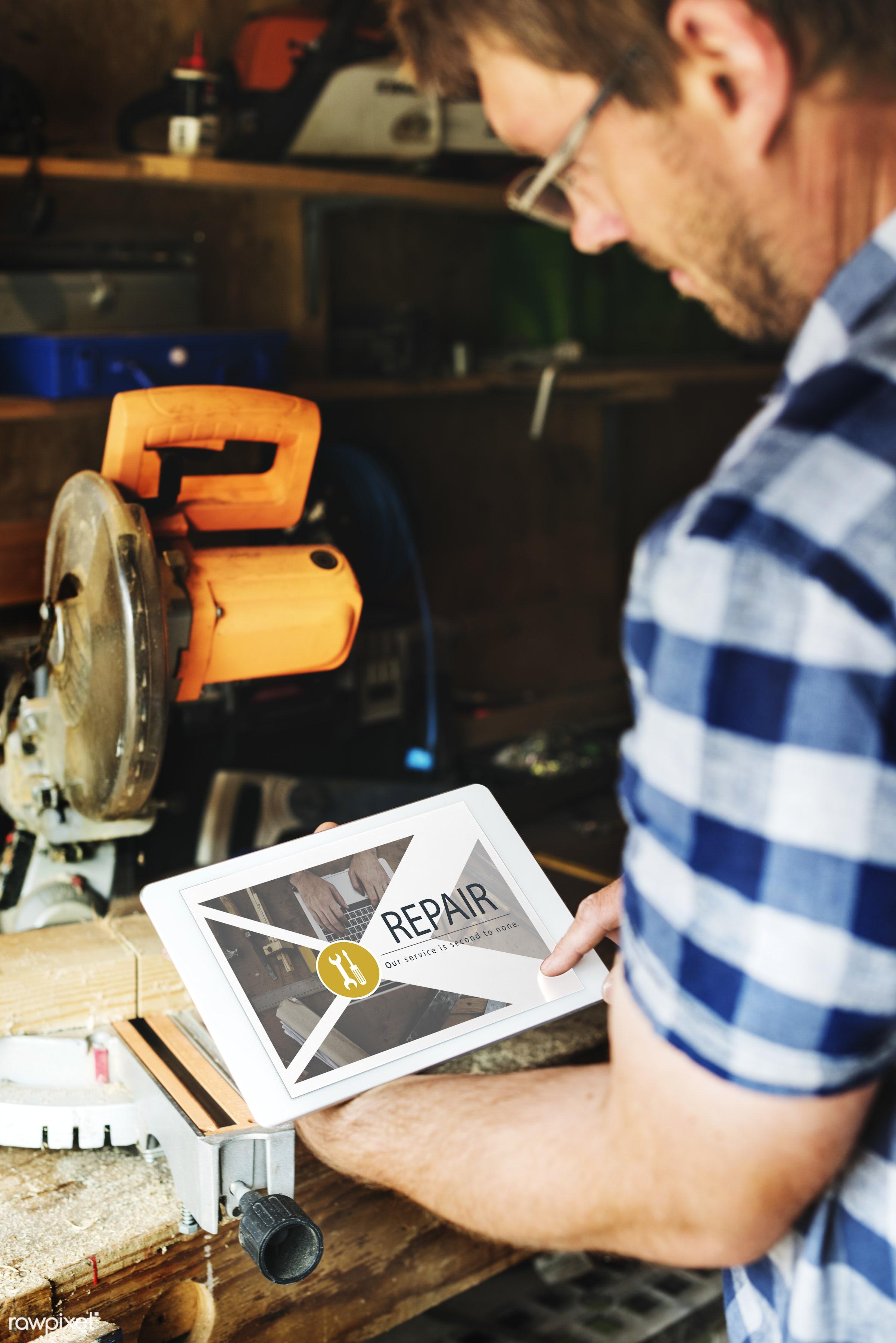 adult, carpenter, carpentry, chop, construction, digital, digital tablet, equipment, fix, fixing, gadget, holding, industry...