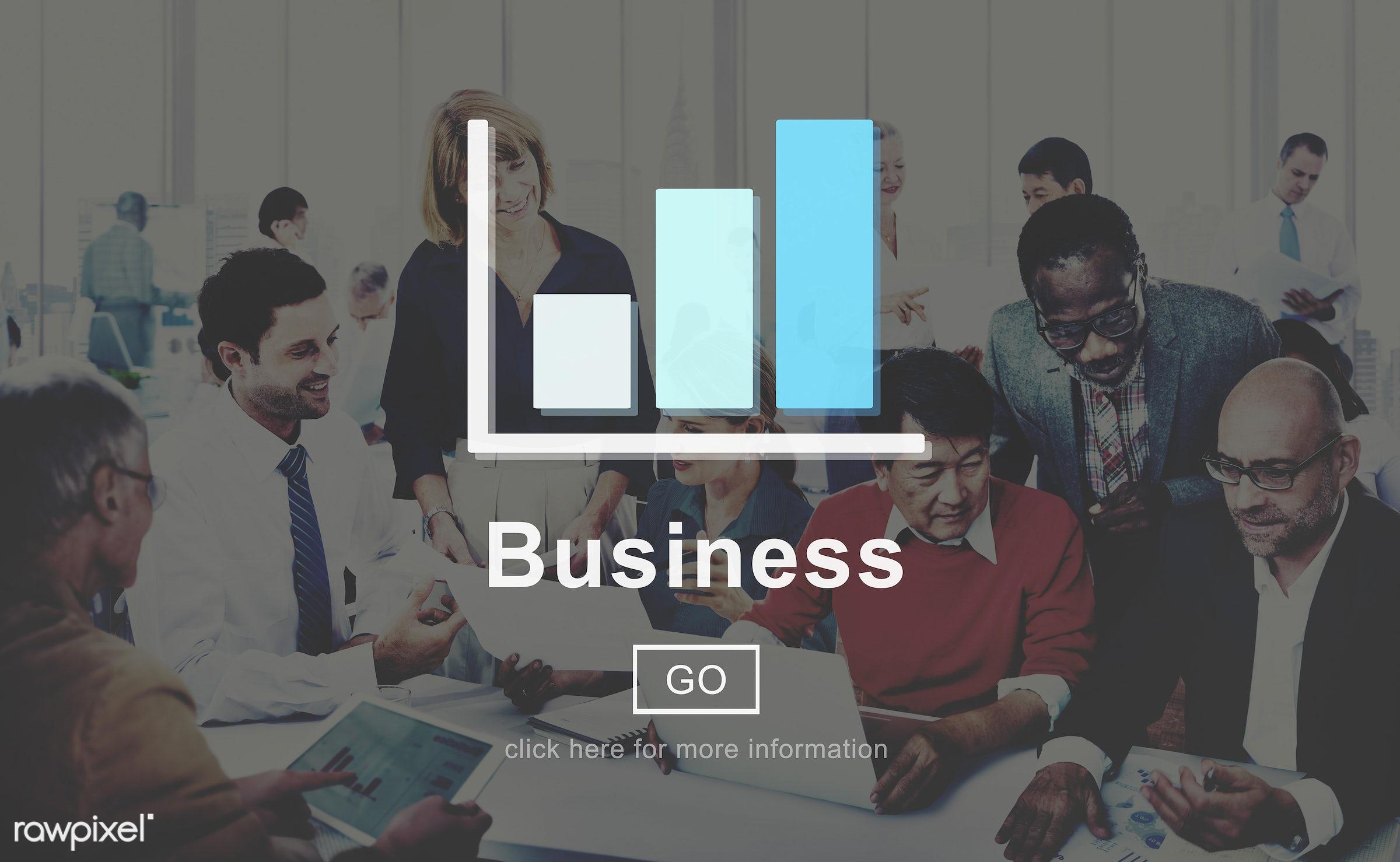 african descent, asian ethnicity, bar graph, big business, brainstorming, business, business organization, business people,...