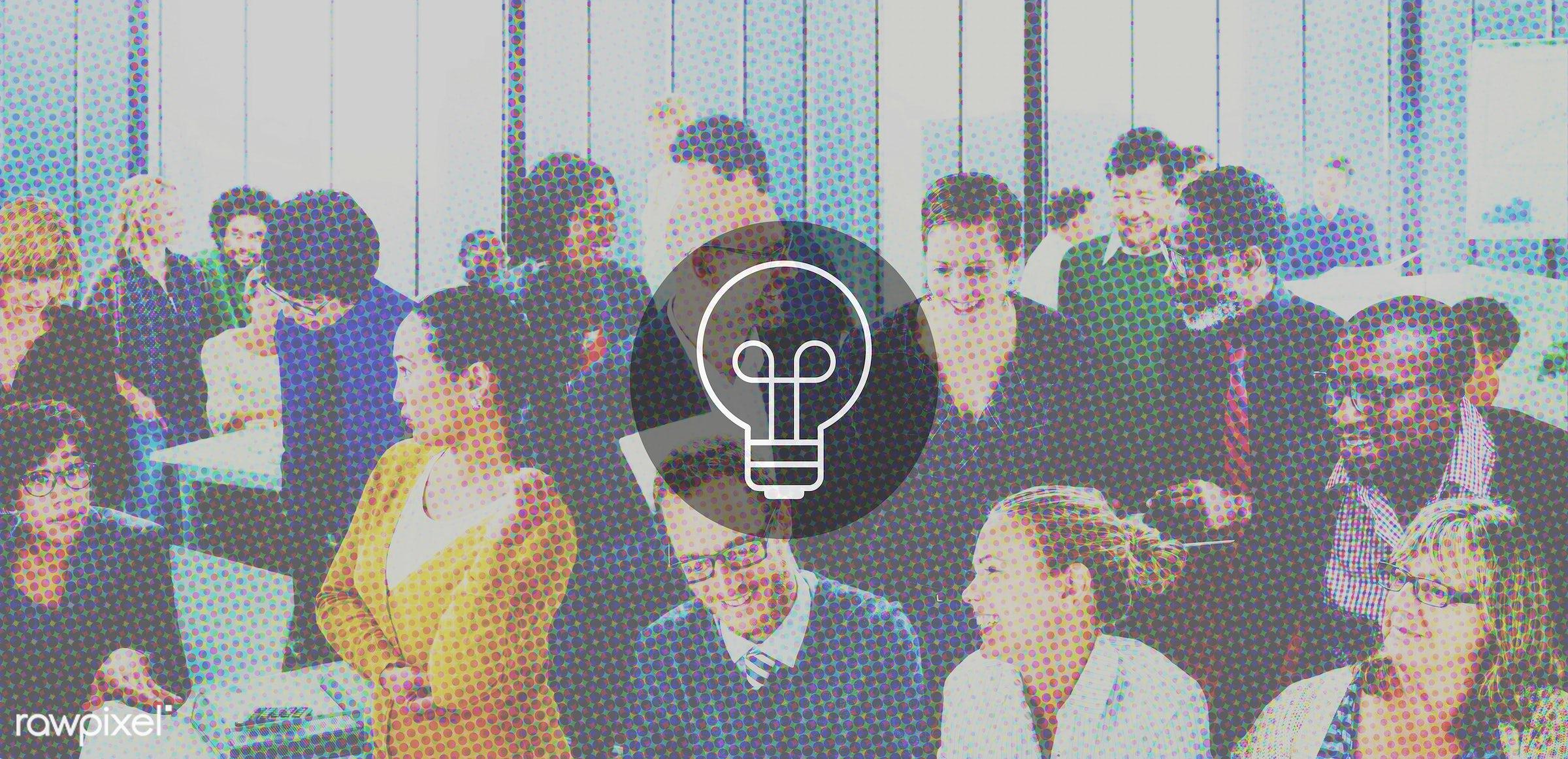 innovation, crowd, african descent, asian ethnicity, aspirations, brainstorming, bulb, business, businessmen, businesswomen...