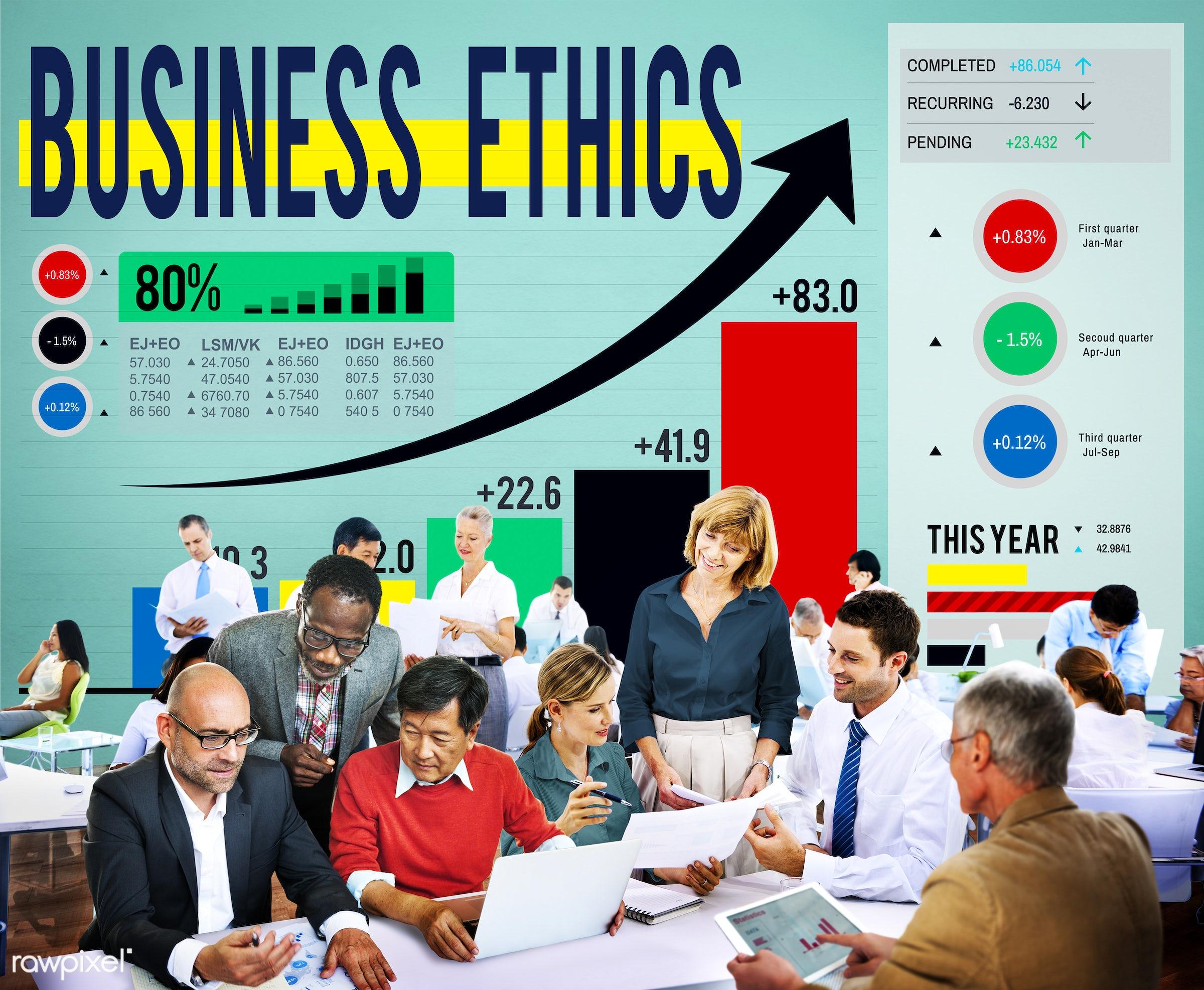 analysis, awareness, bar graph, behaviour, business ethics, business people, businessmen, businesswomen, chart,...