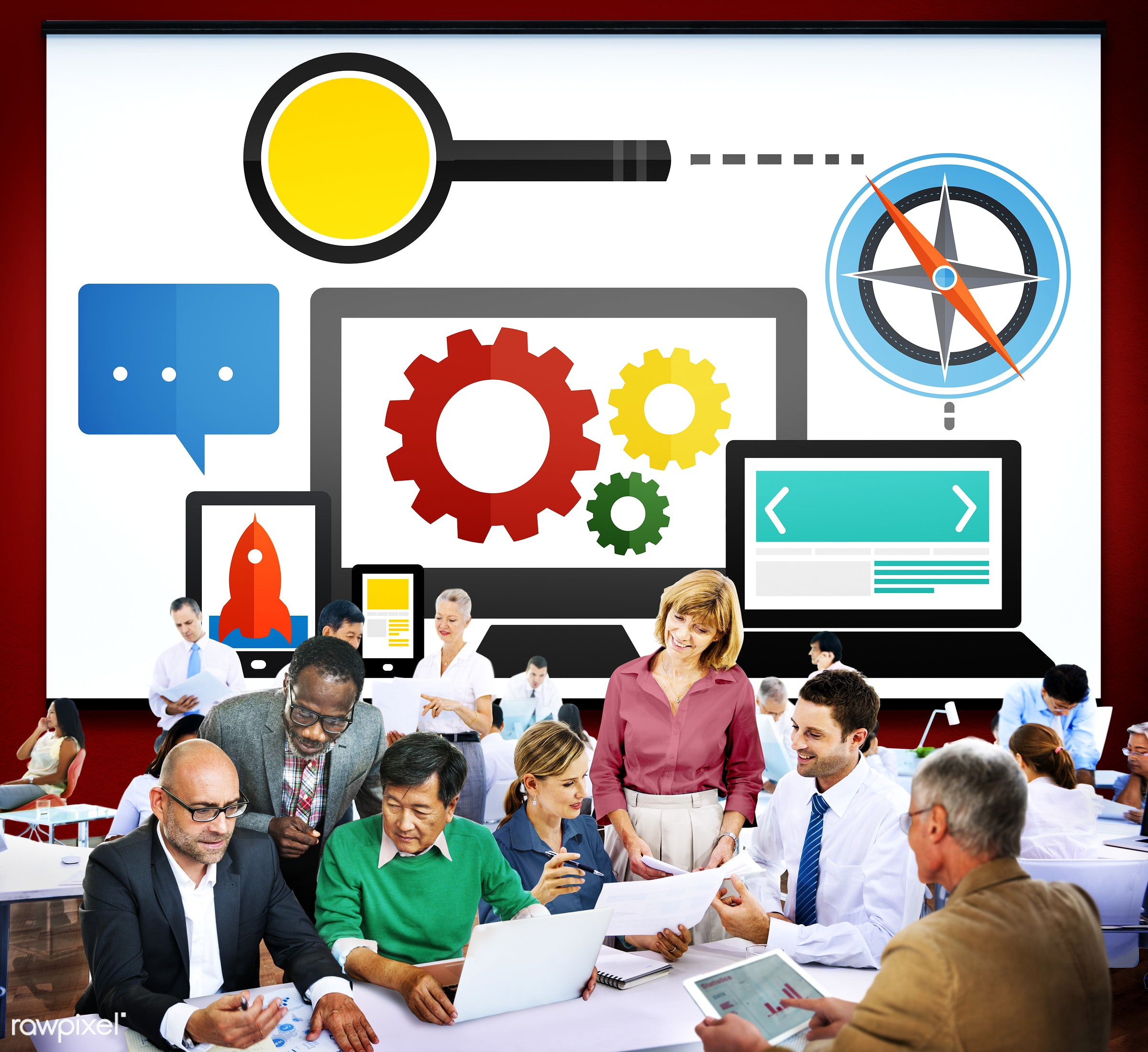 analysis, business, business people, businessmen, businesswomen, busy, cog, communication, compass, computer, content,...
