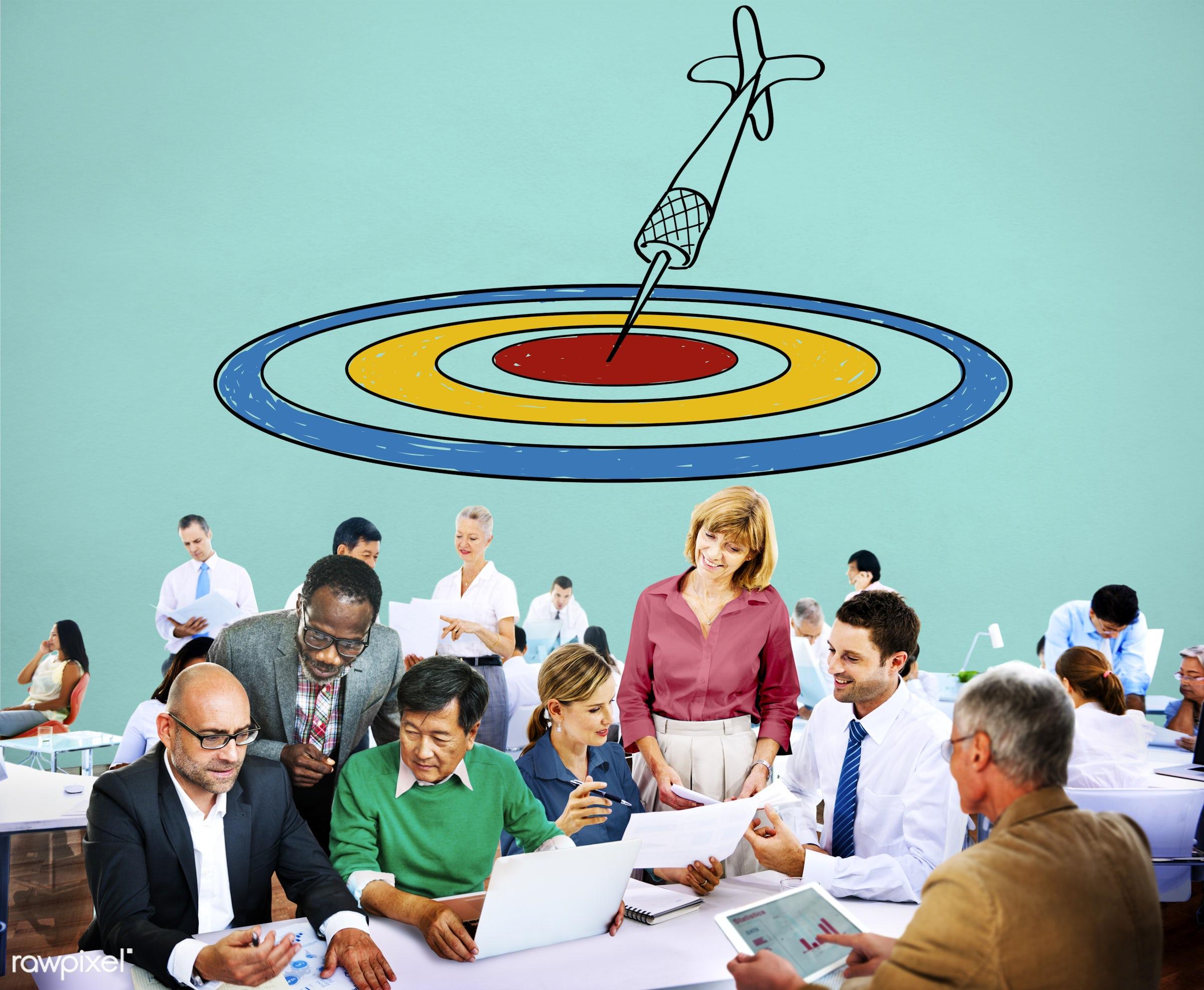 achievement, analysis, aspirations, bull's eye, business, business people, businessmen, businesswomen, busy, communication,...
